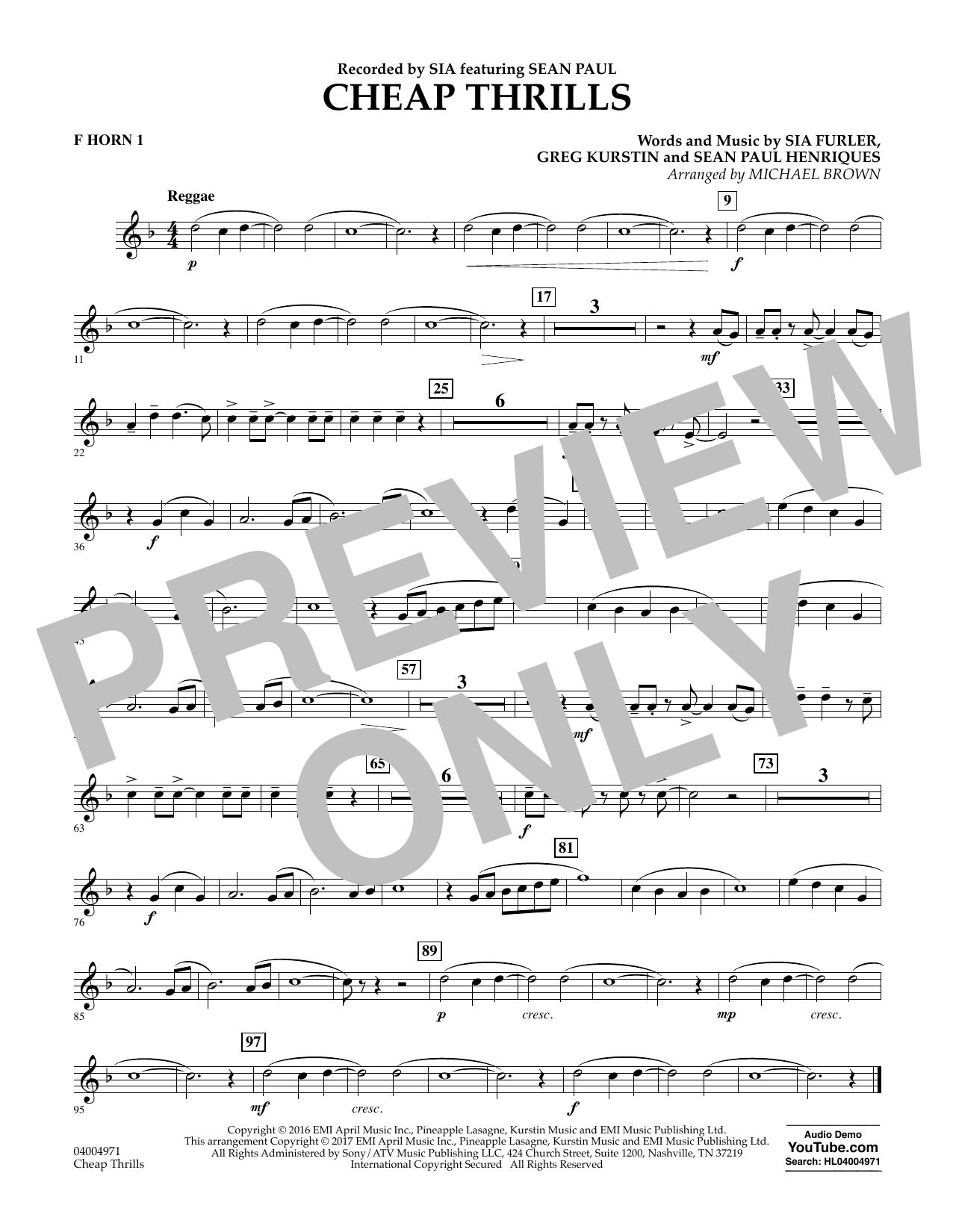 Cheap Thrills - F Horn 1 (Concert Band)