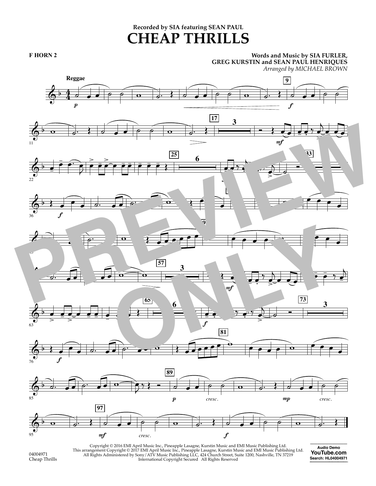 Cheap Thrills - F Horn 2 Sheet Music