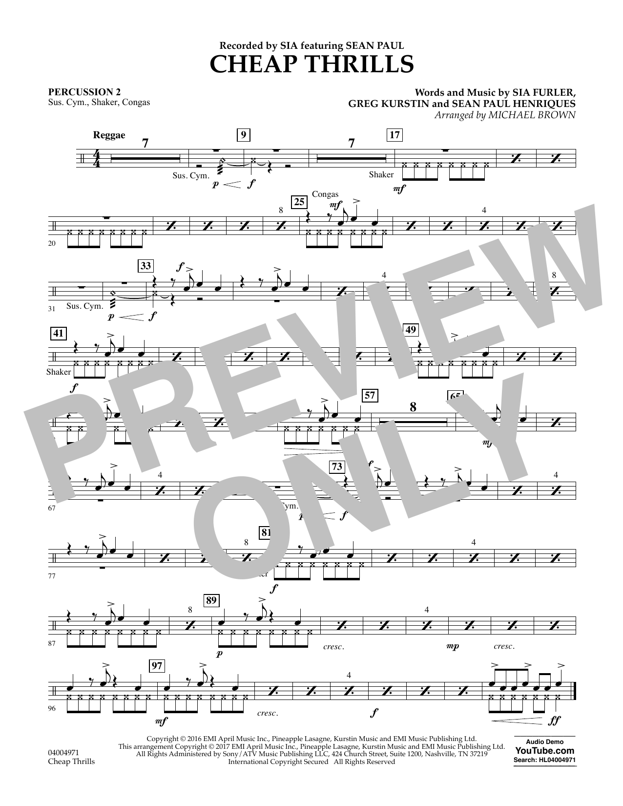 Cheap Thrills - Percussion 2 Sheet Music