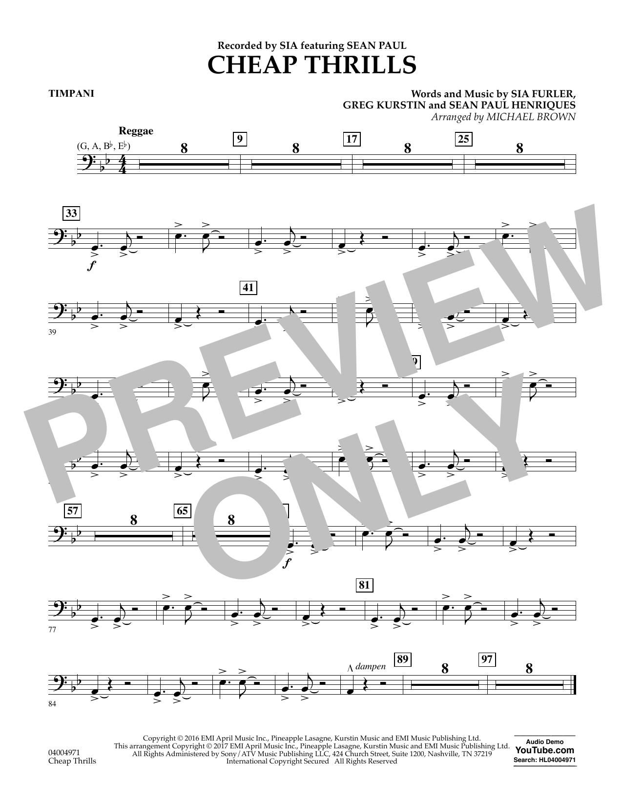Cheap Thrills - Timpani Sheet Music