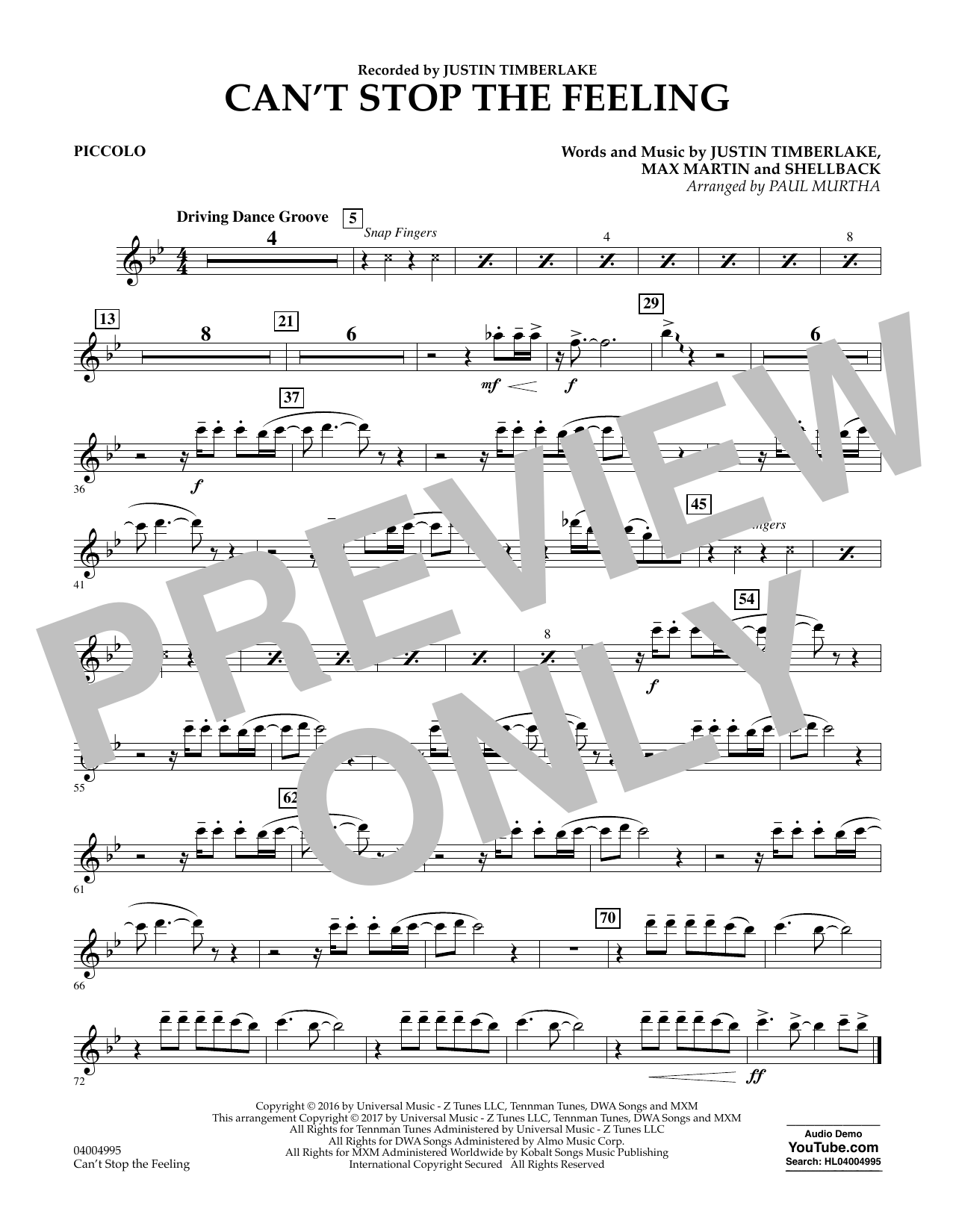 Can't Stop the Feeling - Piccolo Sheet Music