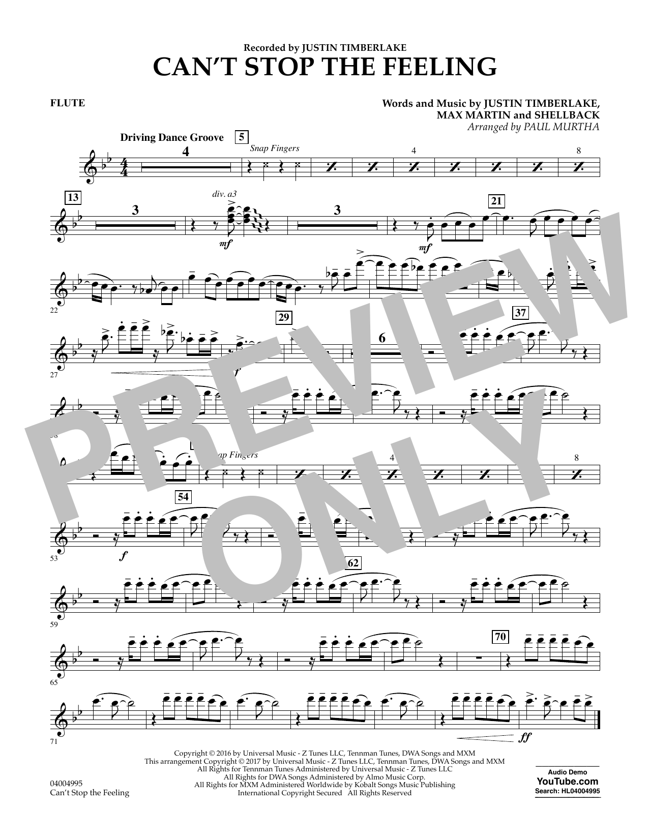 Can't Stop the Feeling - Flute Sheet Music