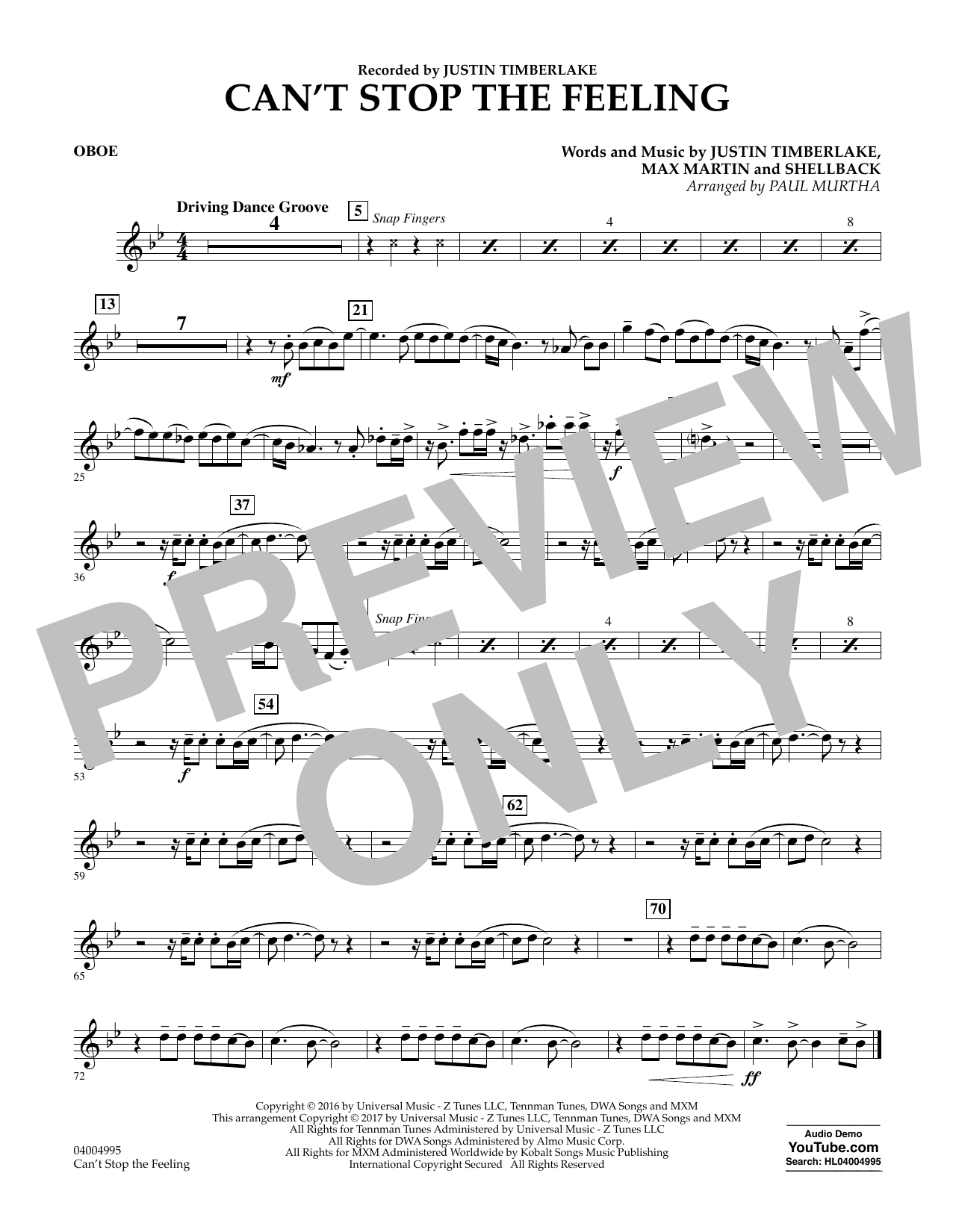 Can't Stop the Feeling - Oboe Sheet Music