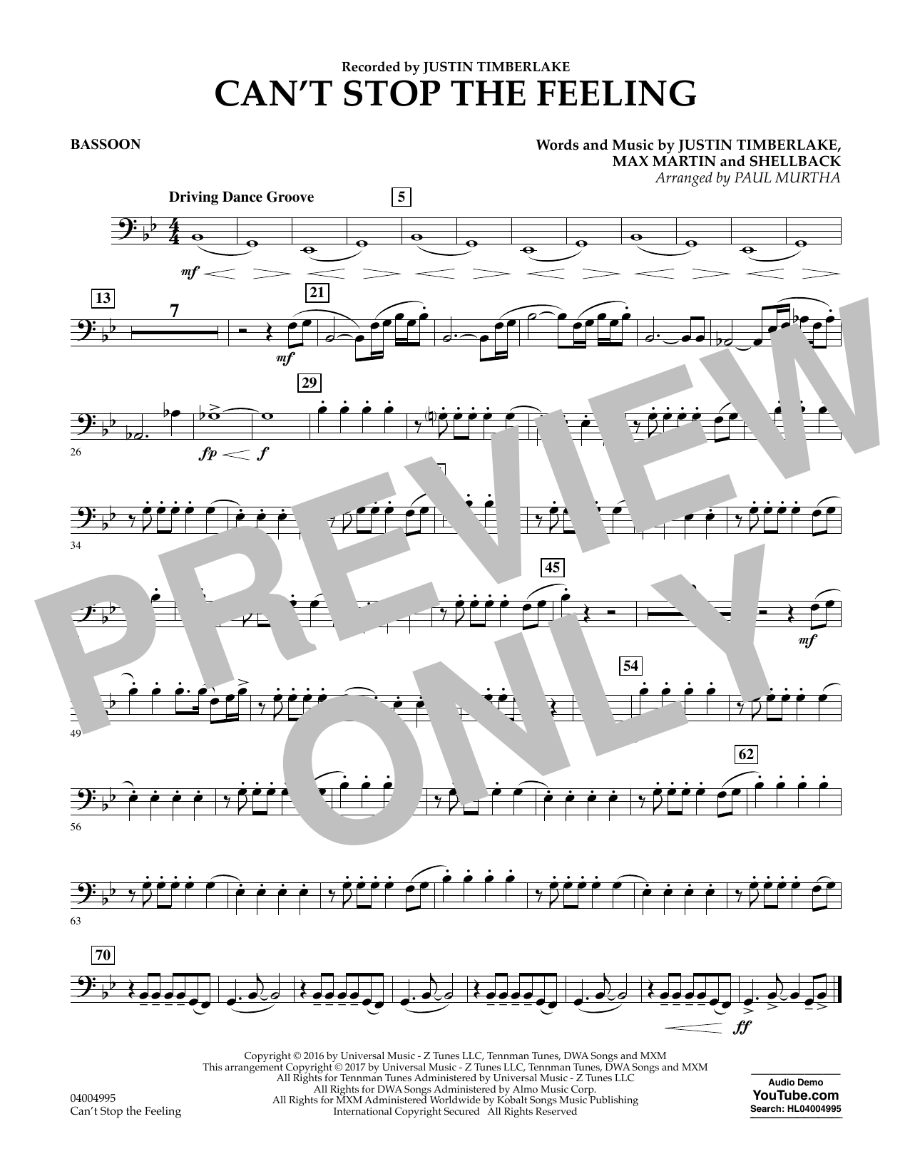 Can't Stop the Feeling - Bassoon Sheet Music
