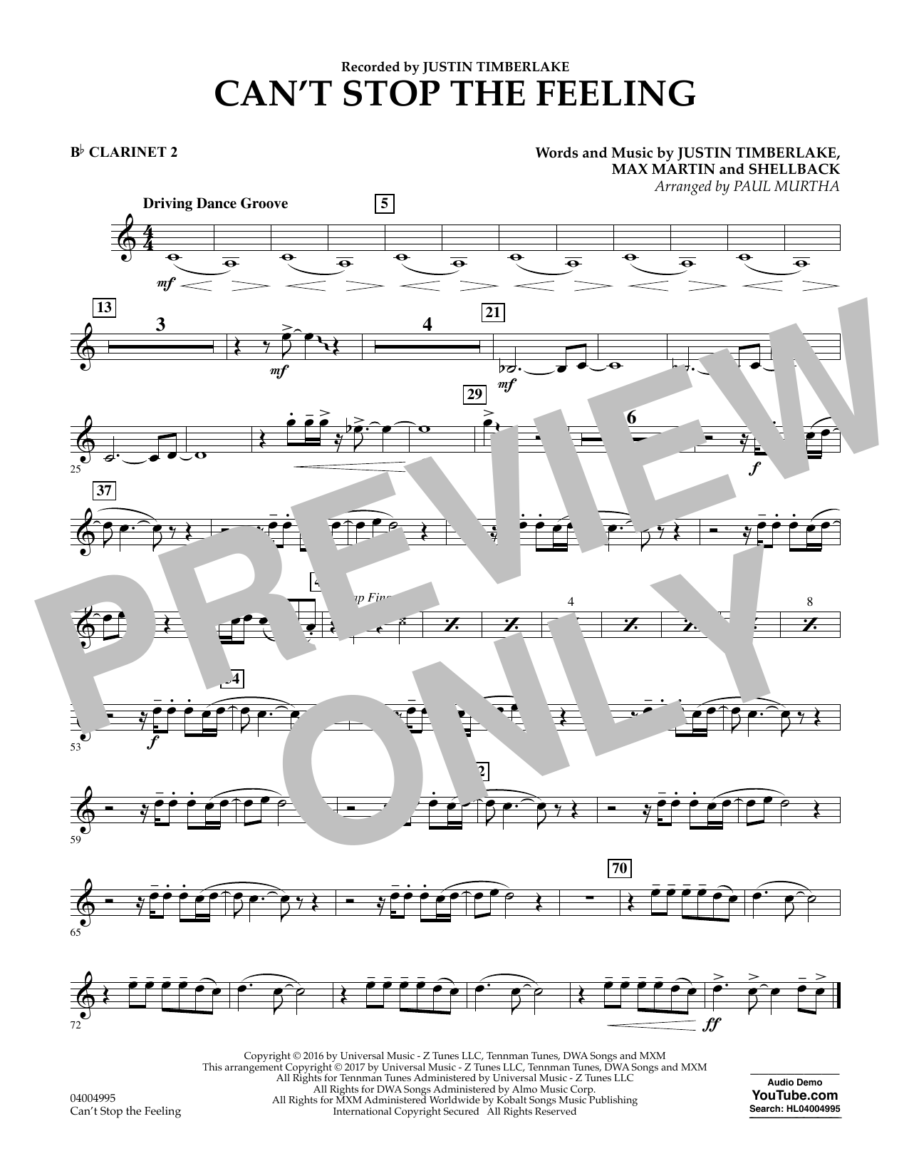 Can't Stop the Feeling - Bb Clarinet 2 Sheet Music