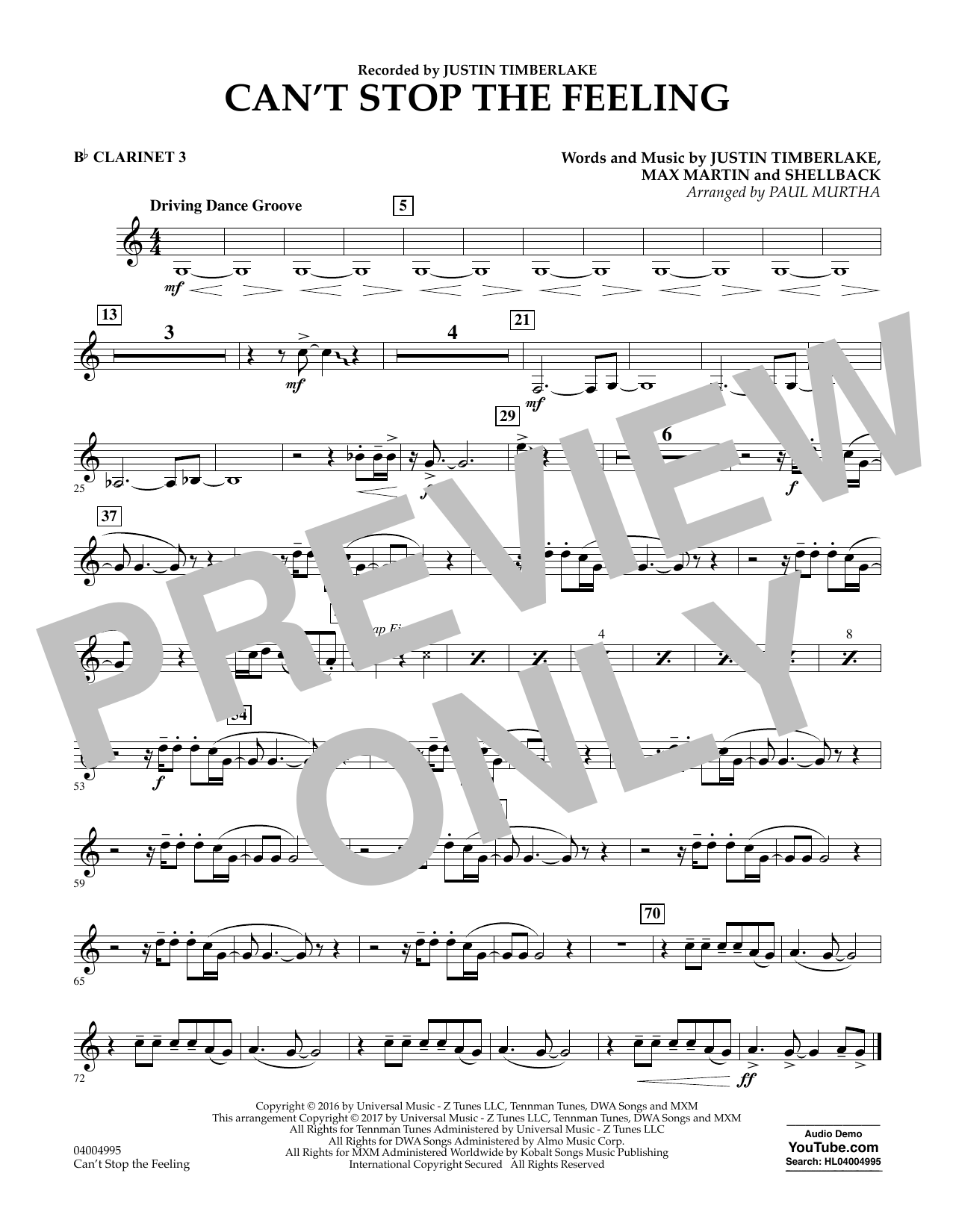 Can't Stop the Feeling - Bb Clarinet 3 Sheet Music