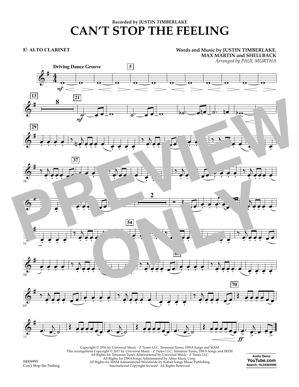 Can't Stop the Feeling - Eb Alto Clarinet Sheet Music