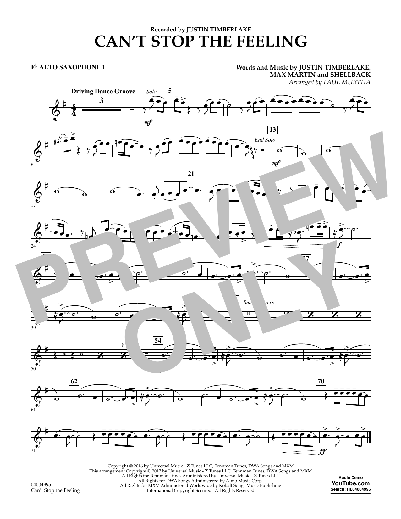 Can't Stop the Feeling - Eb Alto Saxophone 1 Sheet Music
