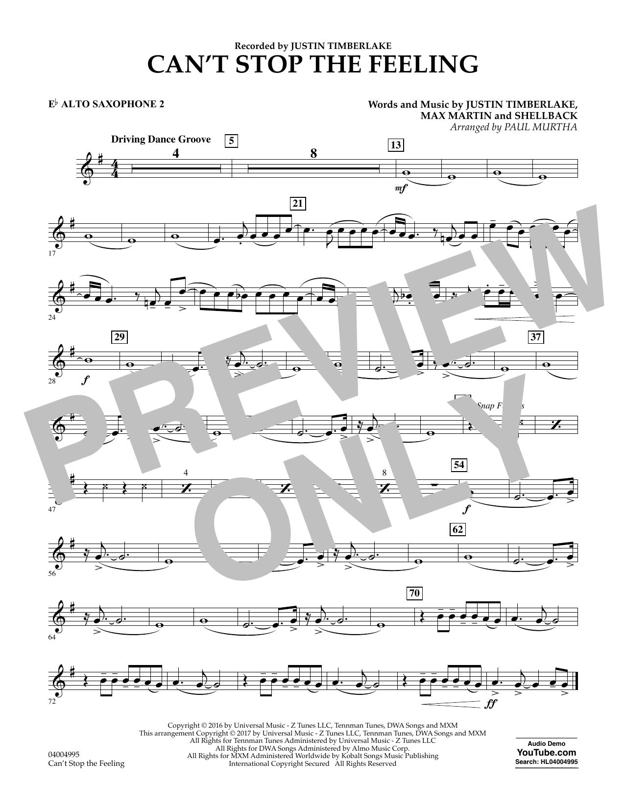 Can't Stop the Feeling - Eb Alto Saxophone 2 Sheet Music