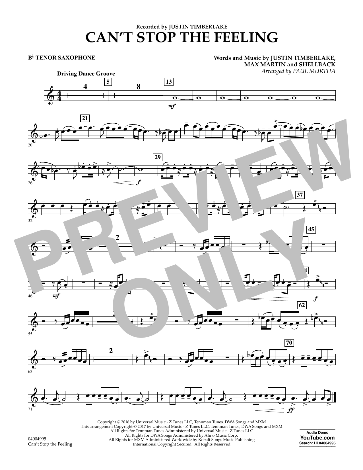 Can't Stop the Feeling - Bb Tenor Saxophone Sheet Music