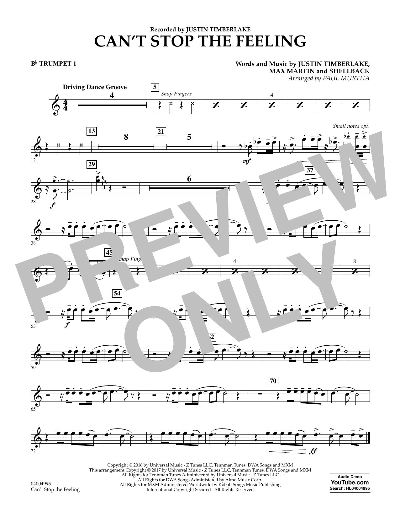 Can't Stop the Feeling - Bb Trumpet 1 (Concert Band)