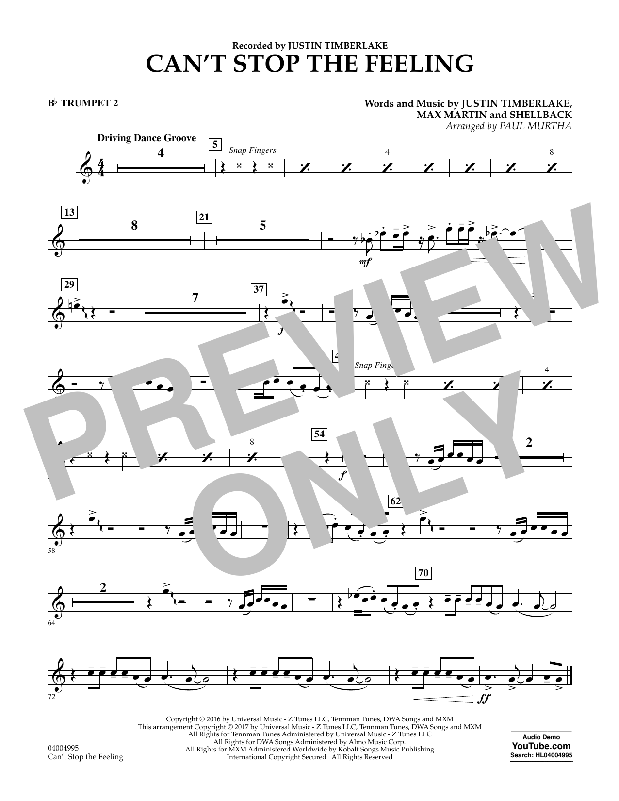Can't Stop the Feeling - Bb Trumpet 2 Sheet Music