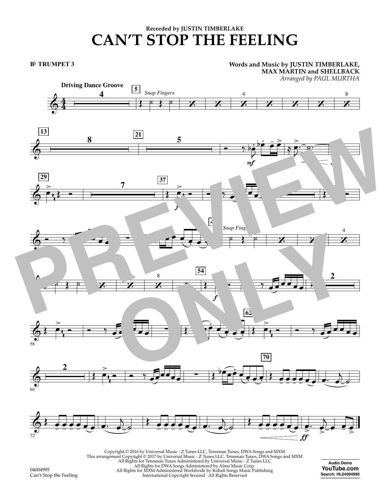 Can't Stop the Feeling - Bb Trumpet 3 Sheet Music
