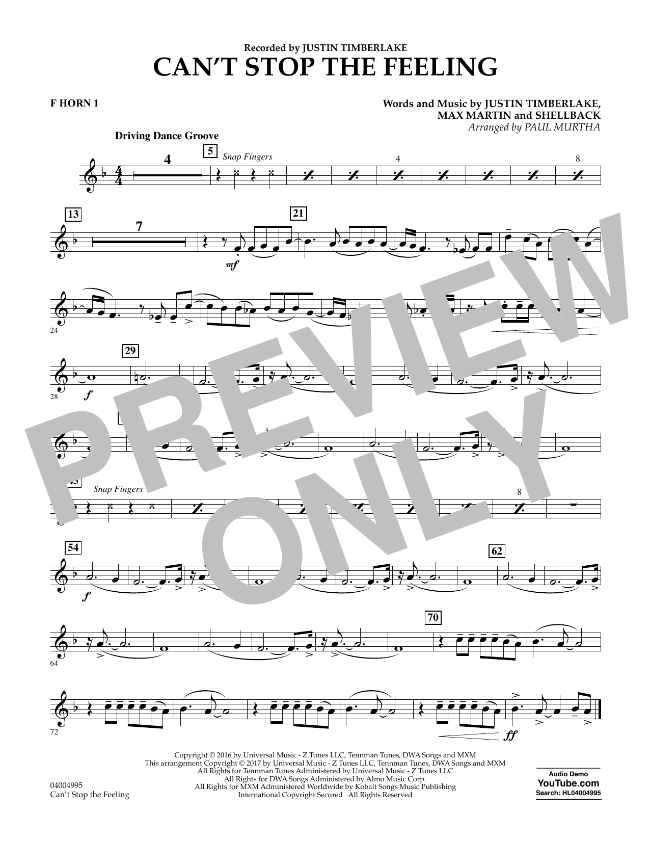 Can't Stop the Feeling - F Horn 1 Sheet Music