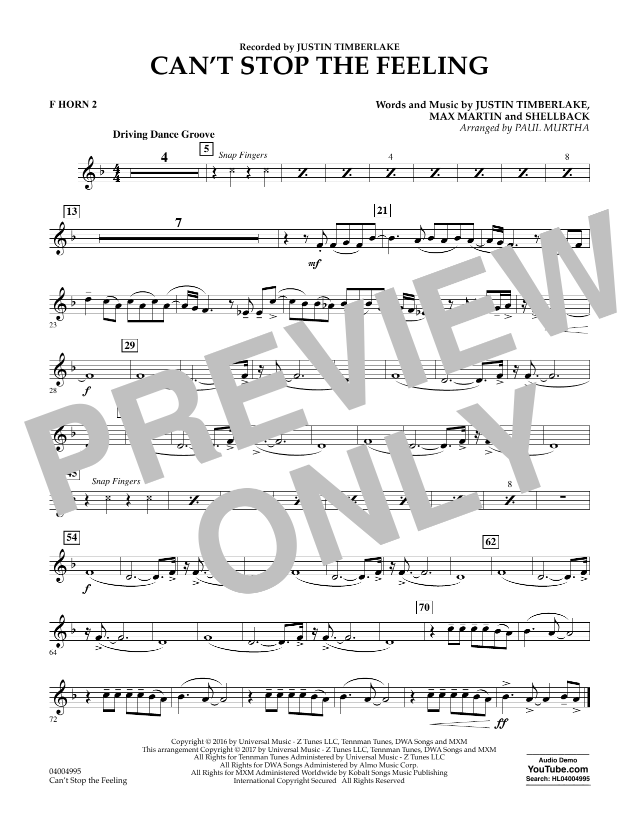 Can't Stop the Feeling - F Horn 2 Sheet Music