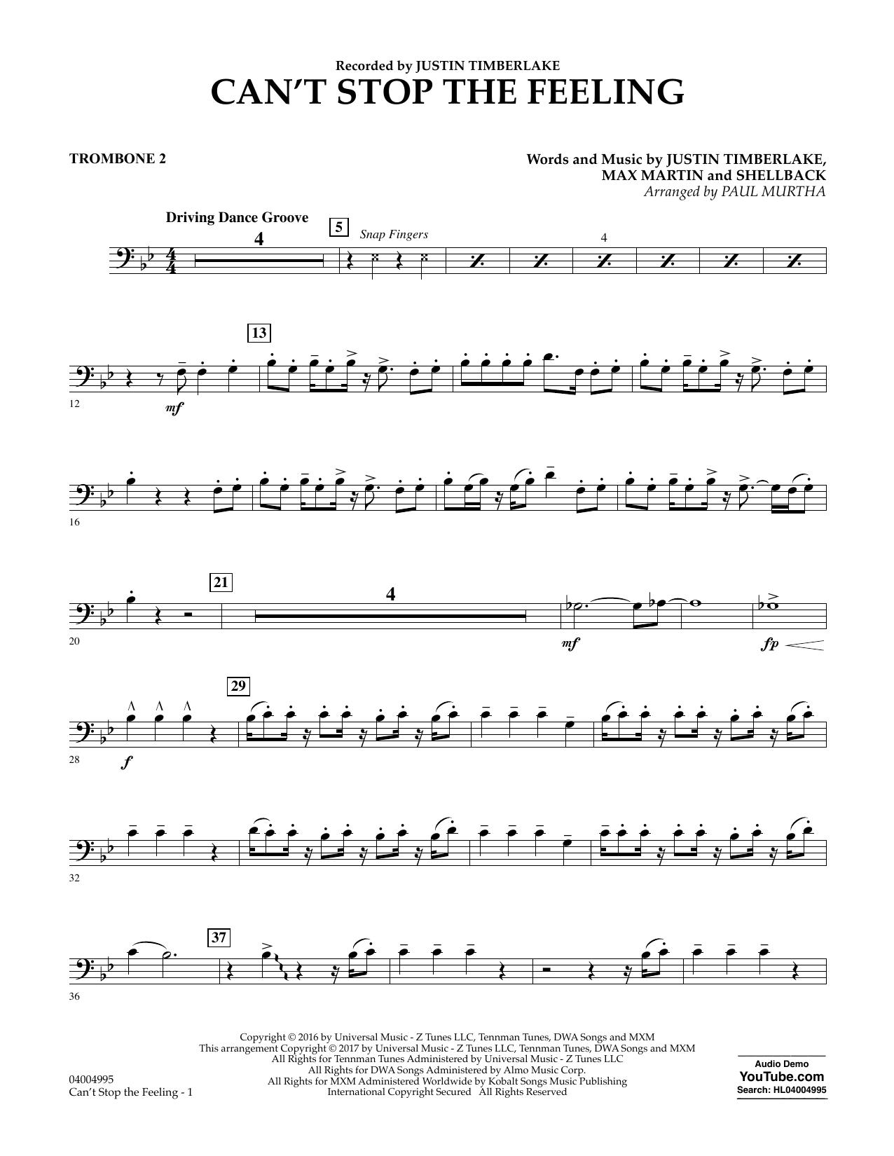 Can't Stop the Feeling - Trombone 2 Sheet Music