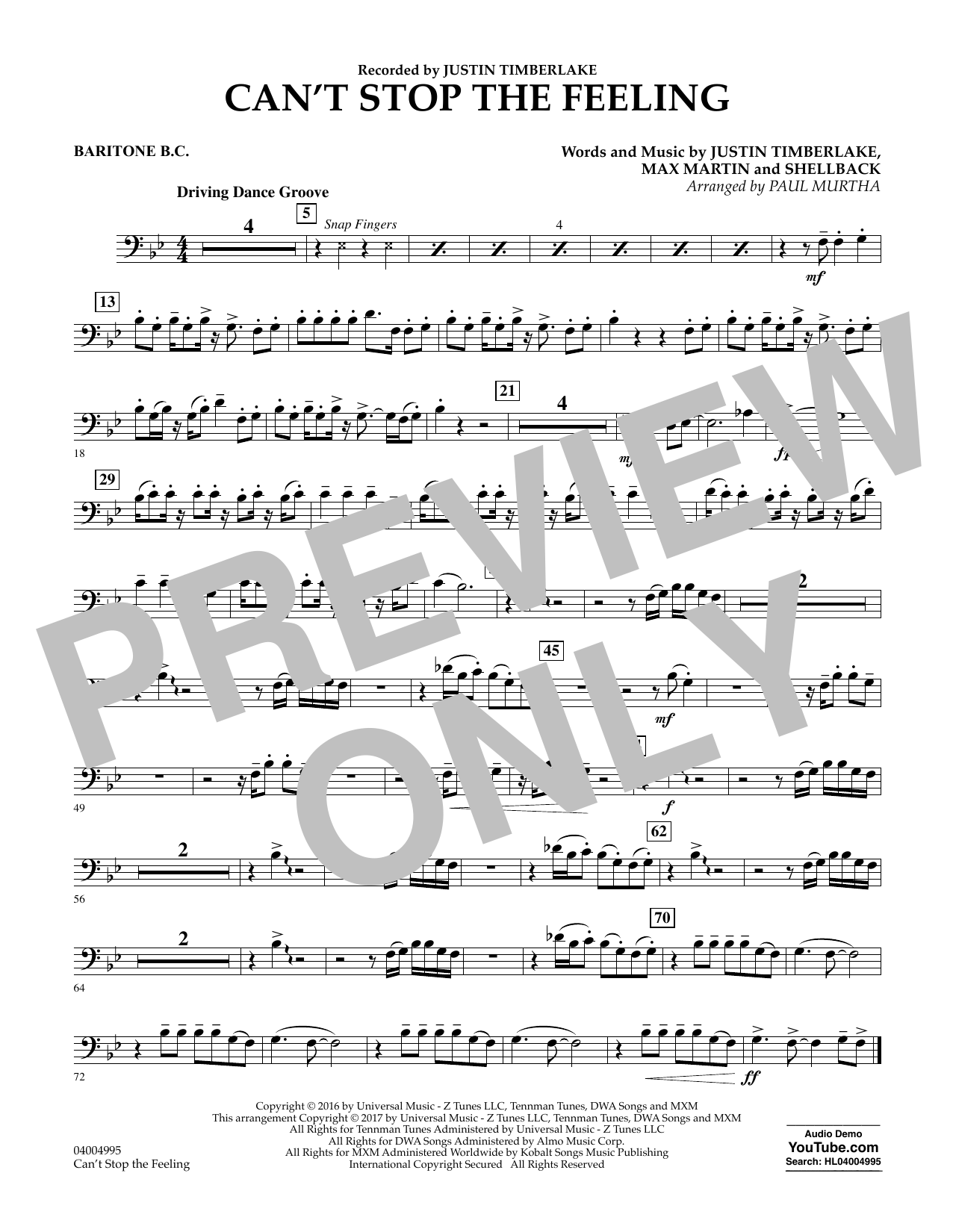 Can't Stop the Feeling - Baritone B.C. (Concert Band)