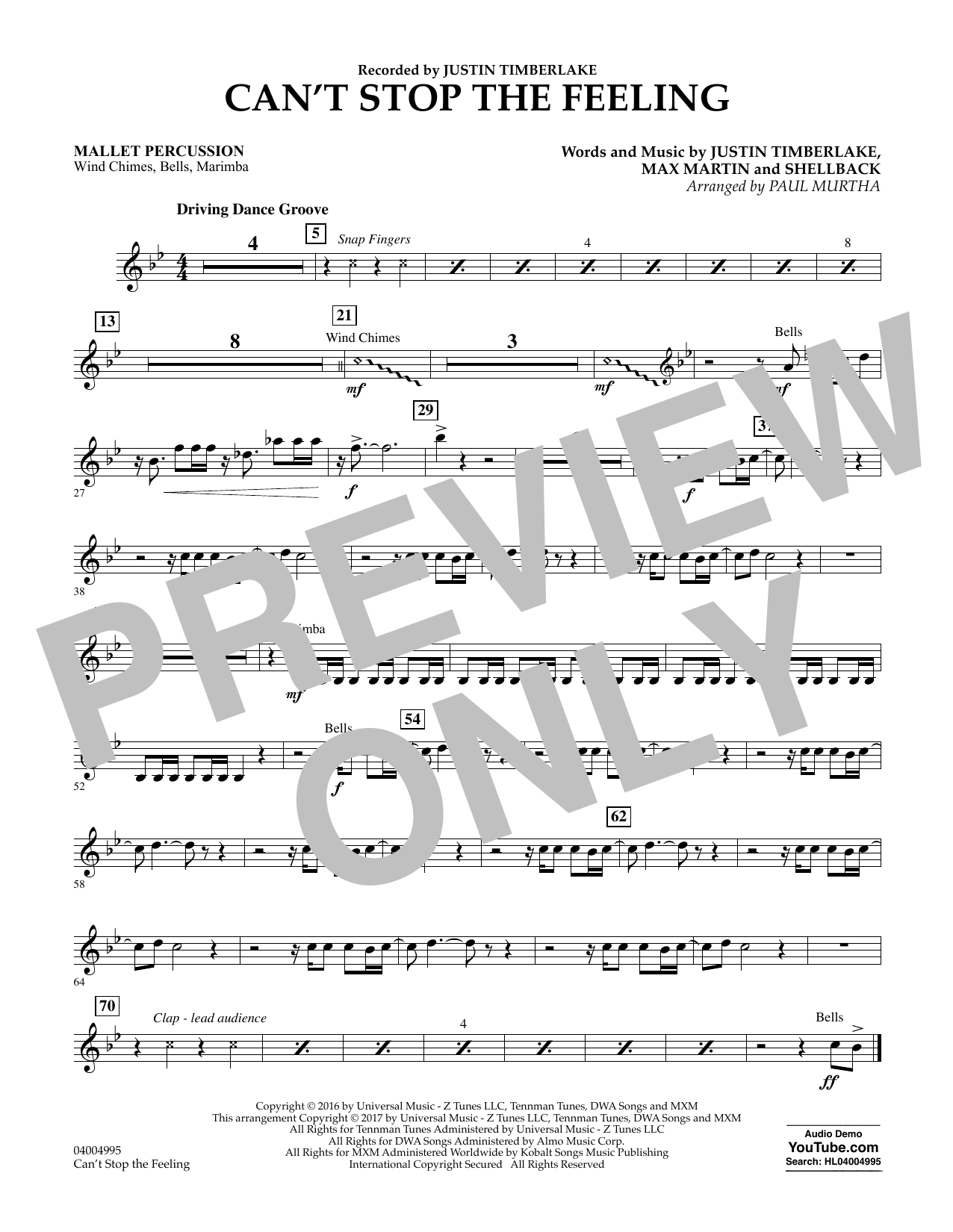Can't Stop the Feeling - Mallet Percussion Sheet Music