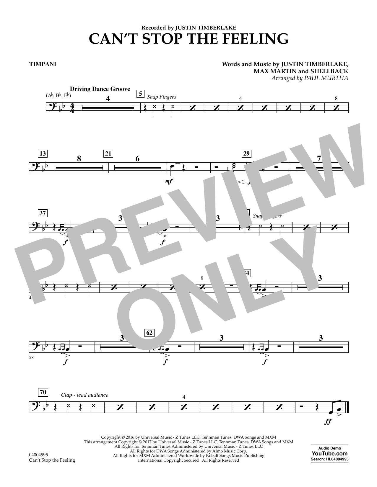 Can't Stop the Feeling - Timpani Sheet Music