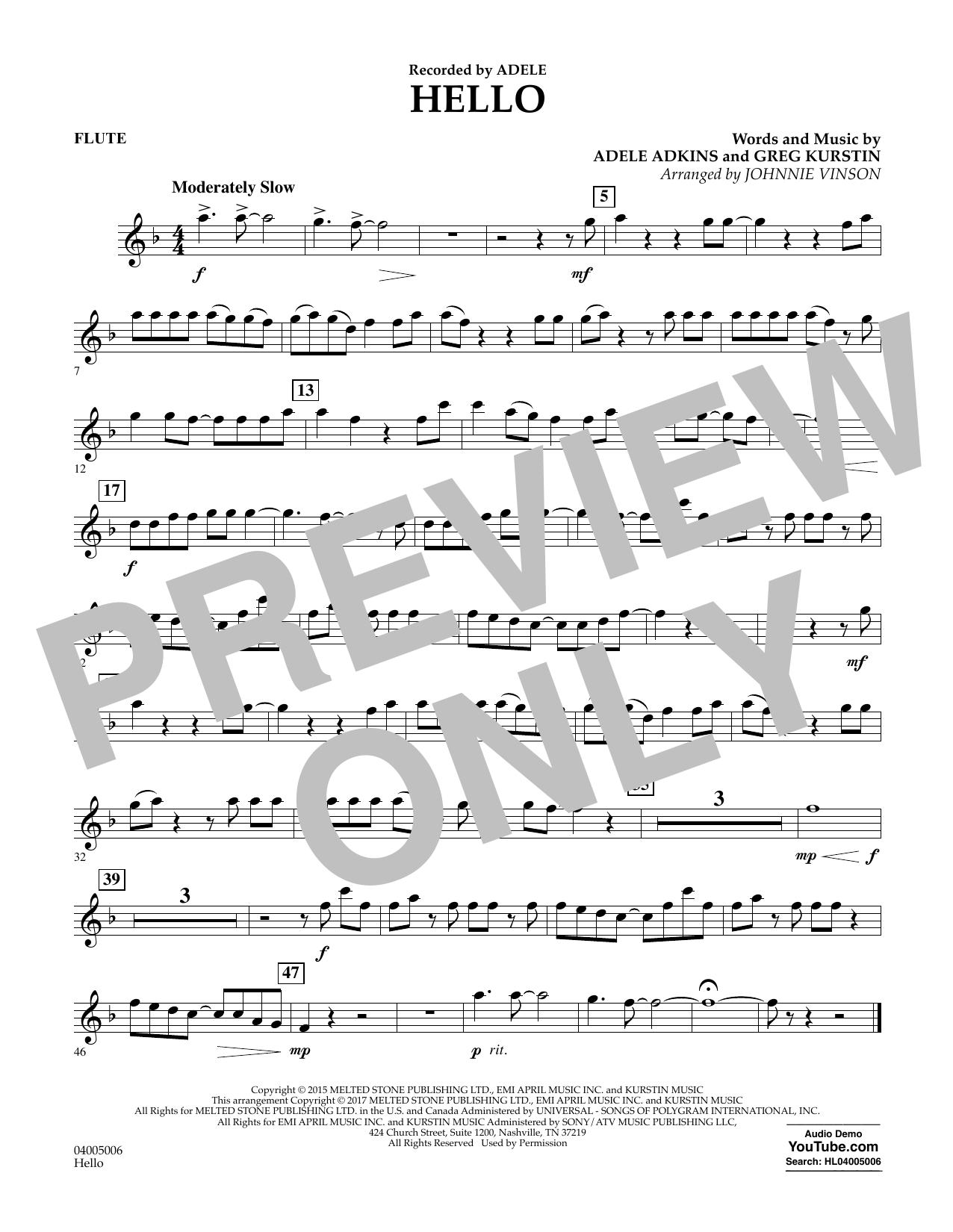 Hello - Flute Sheet Music