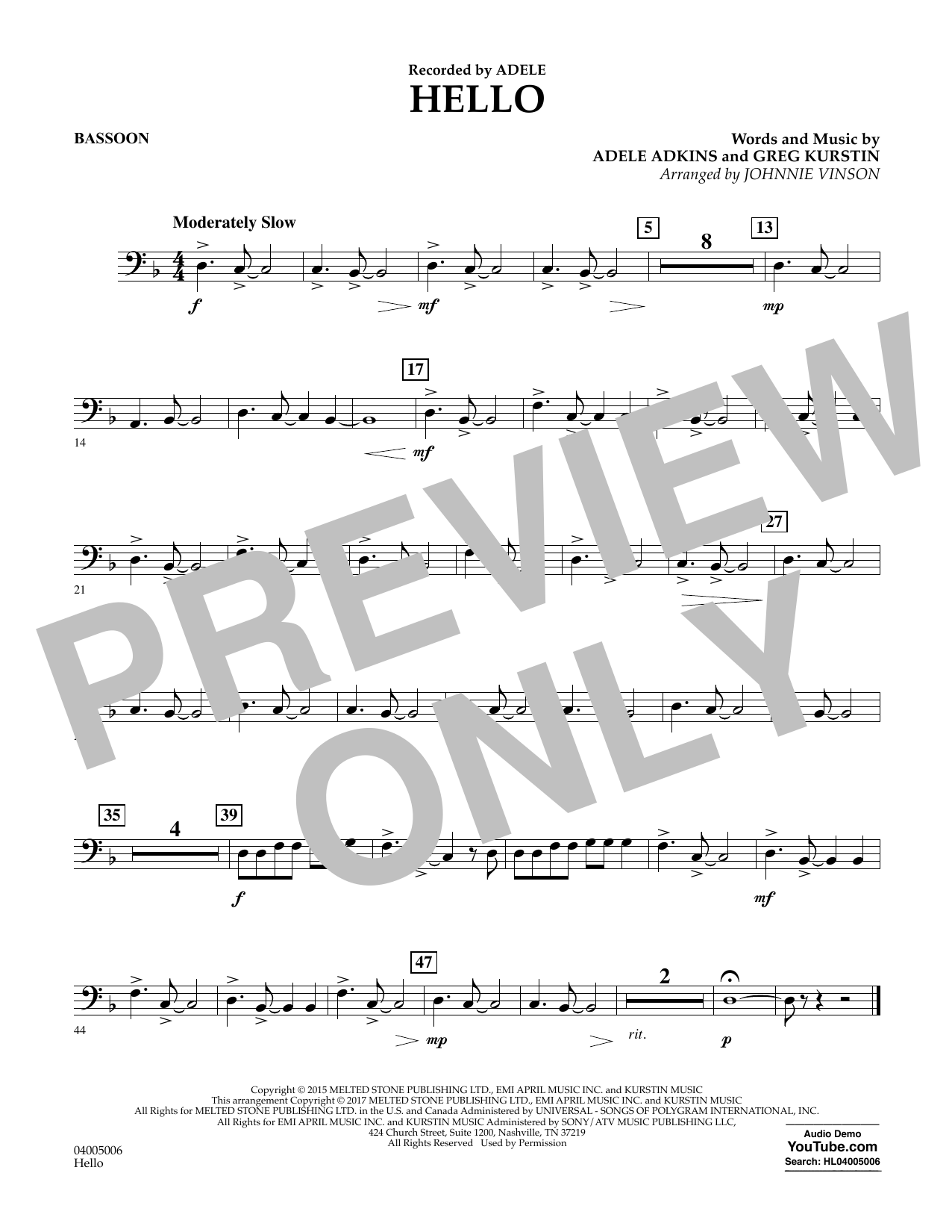 Hello - Bassoon Sheet Music