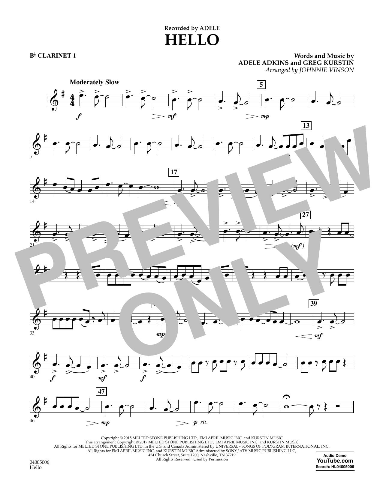 Hello - Bb Clarinet 1 (Concert Band)