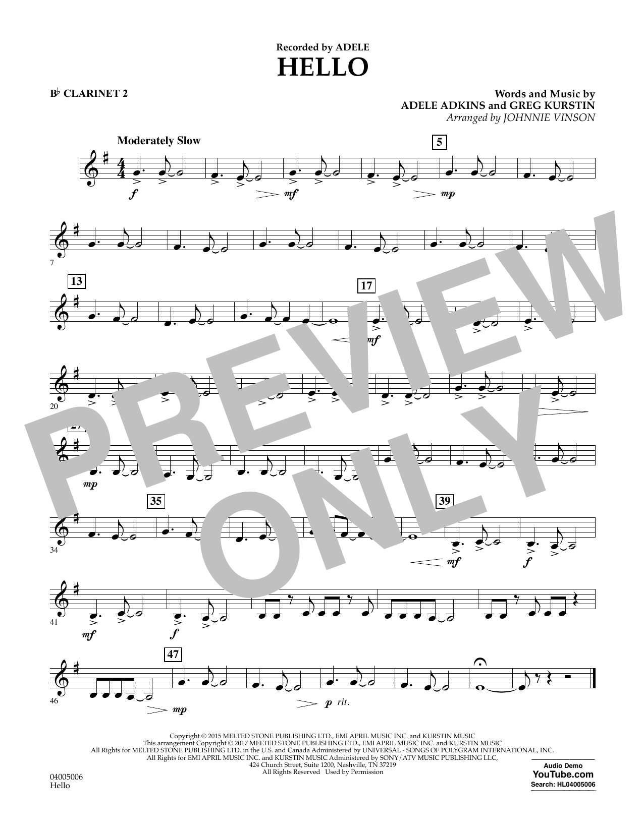 Hello - Bb Clarinet 2 Sheet Music