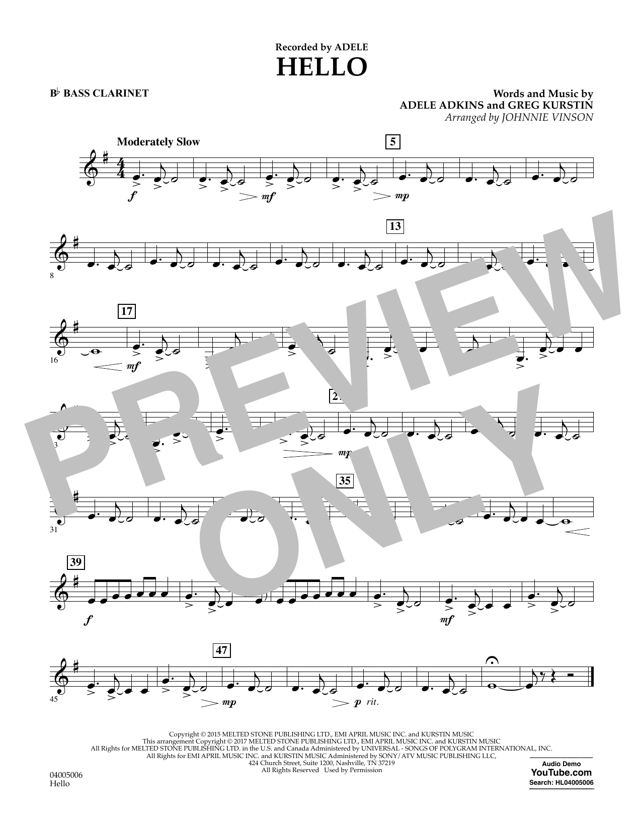 Hello - Bb Bass Clarinet Sheet Music