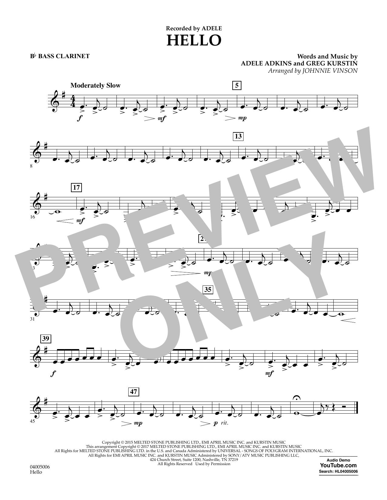 Hello - Bb Bass Clarinet Sheet Music