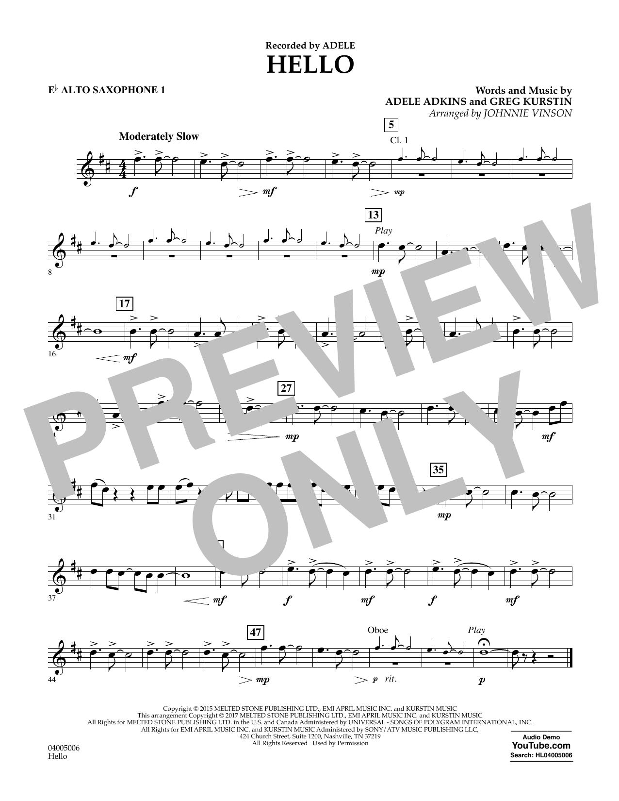 Hello - Eb Alto Saxophone 1 Sheet Music
