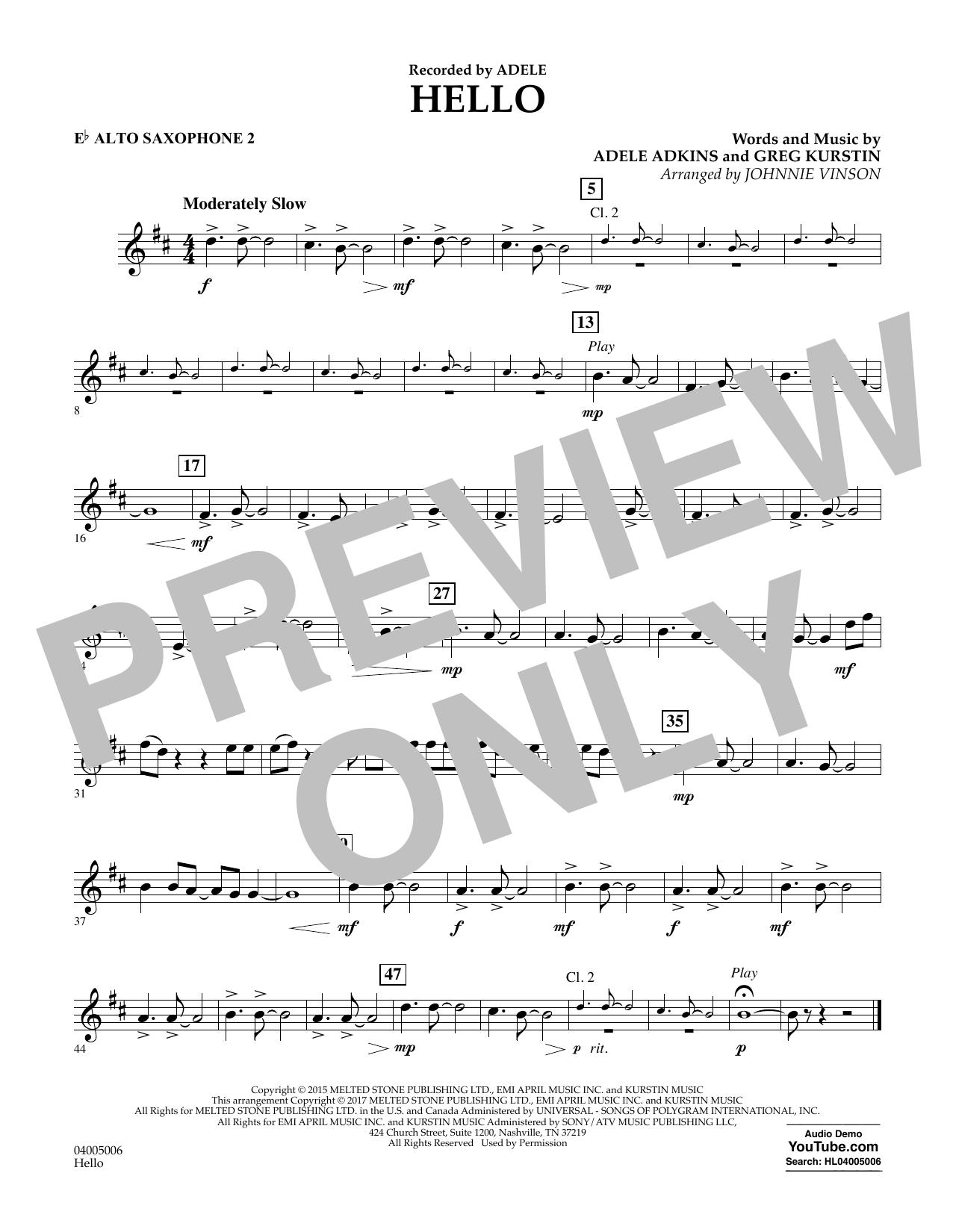 Hello - Eb Alto Saxophone 2 Sheet Music