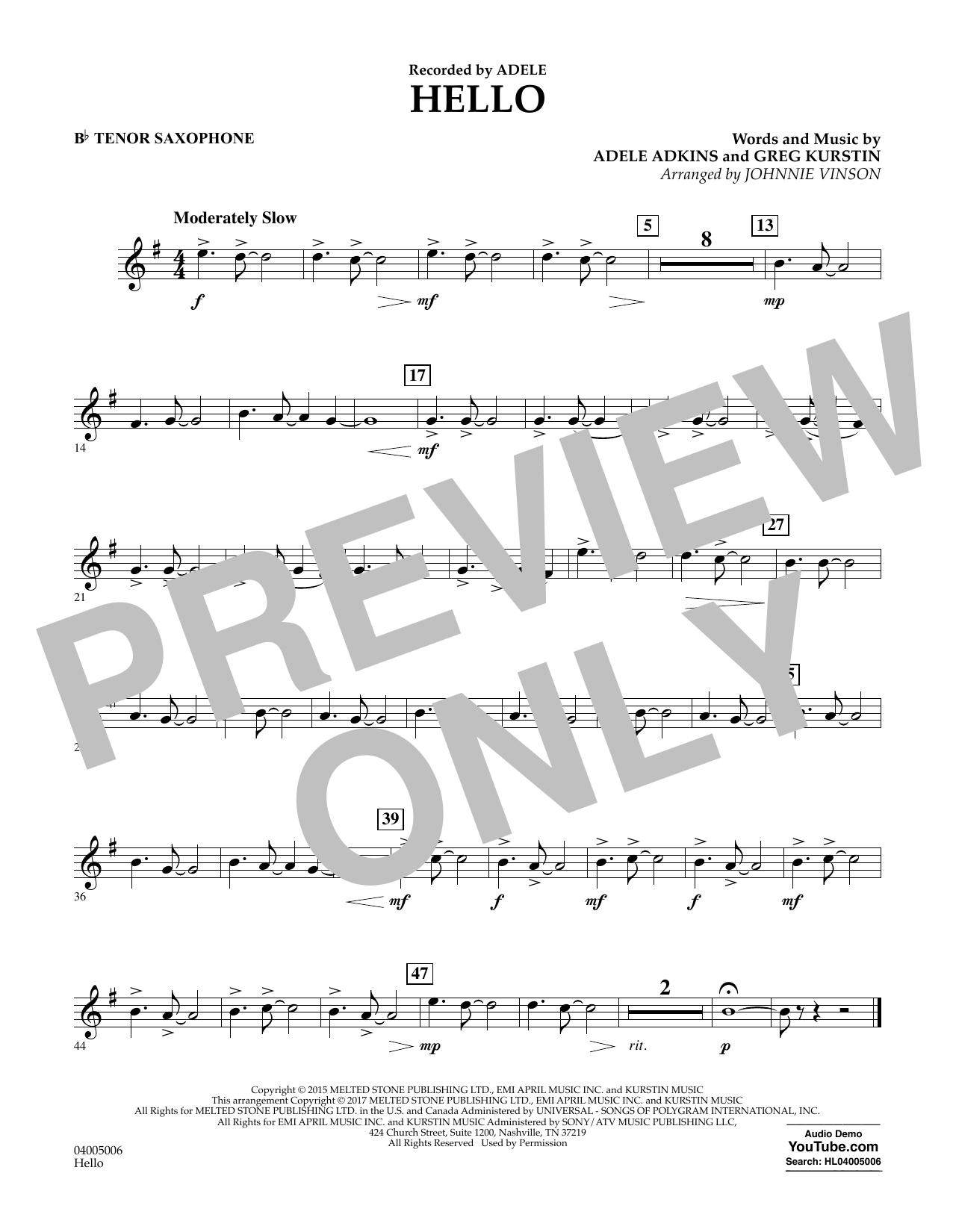 Hello - Bb Tenor Saxophone (Concert Band)