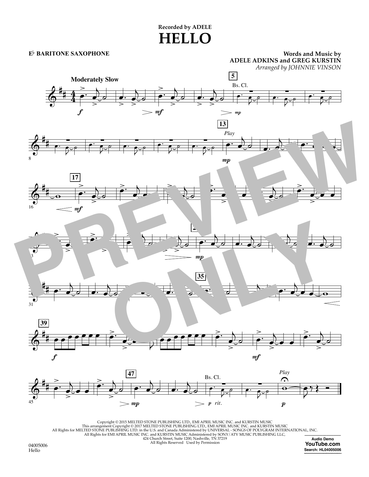 Hello - Eb Baritone Saxophone Sheet Music