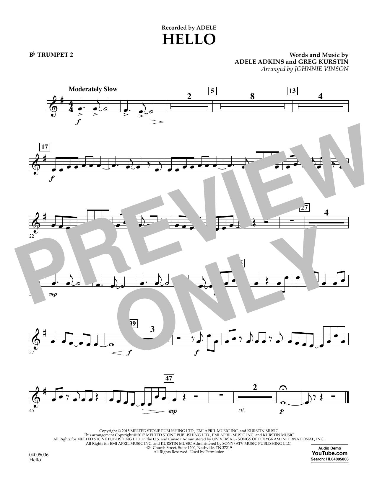Hello - Bb Trumpet 2 Sheet Music