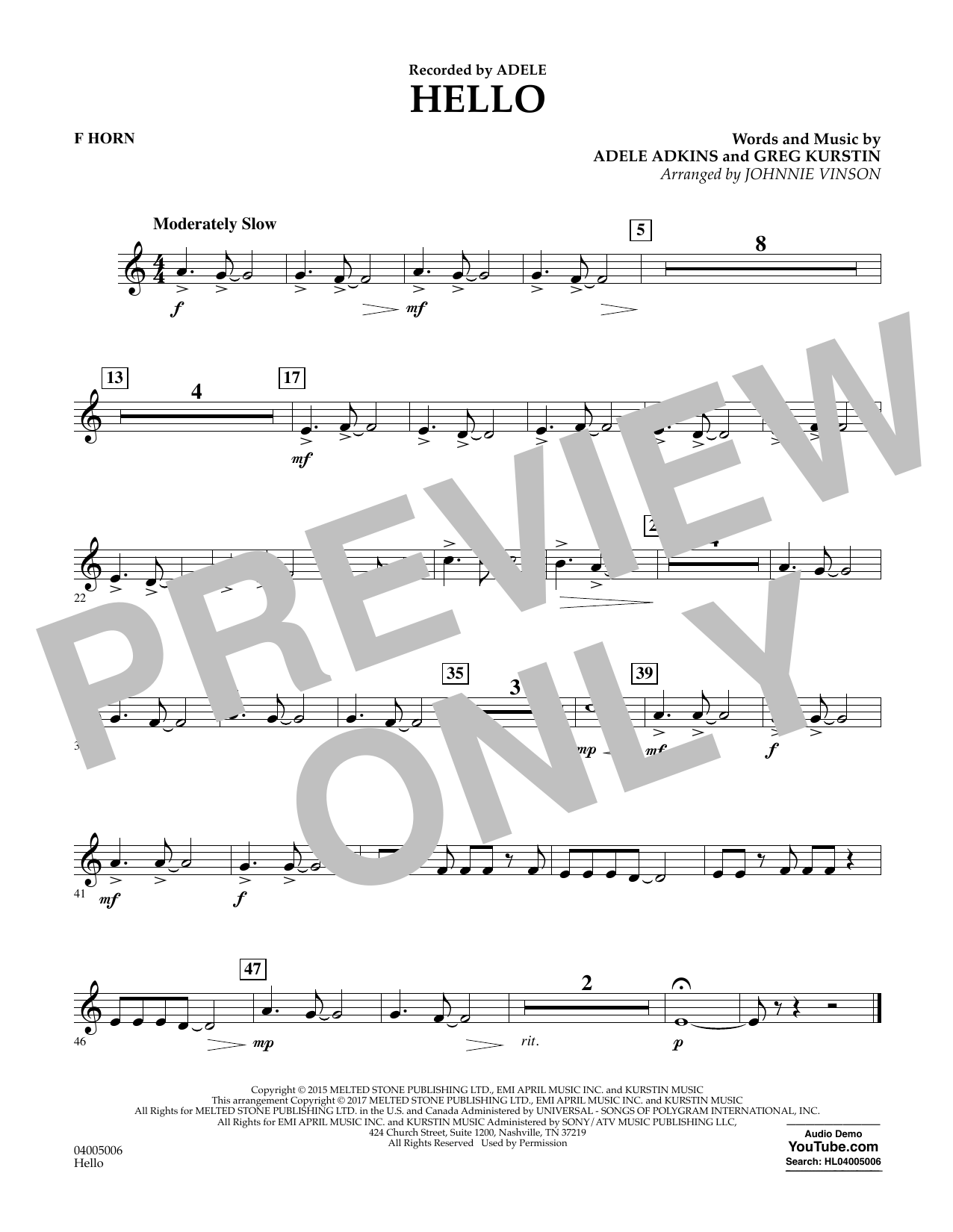 Hello - F Horn Sheet Music