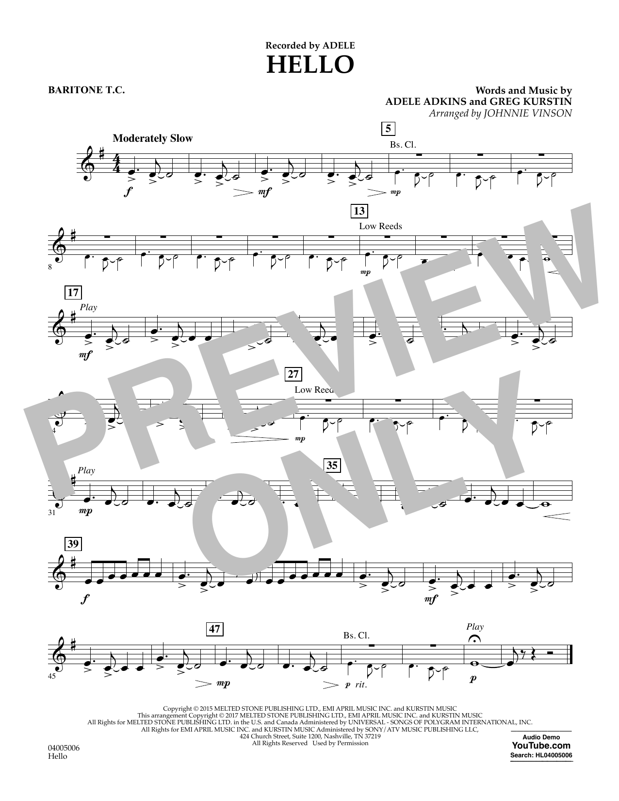 Hello - Baritone T.C. Sheet Music