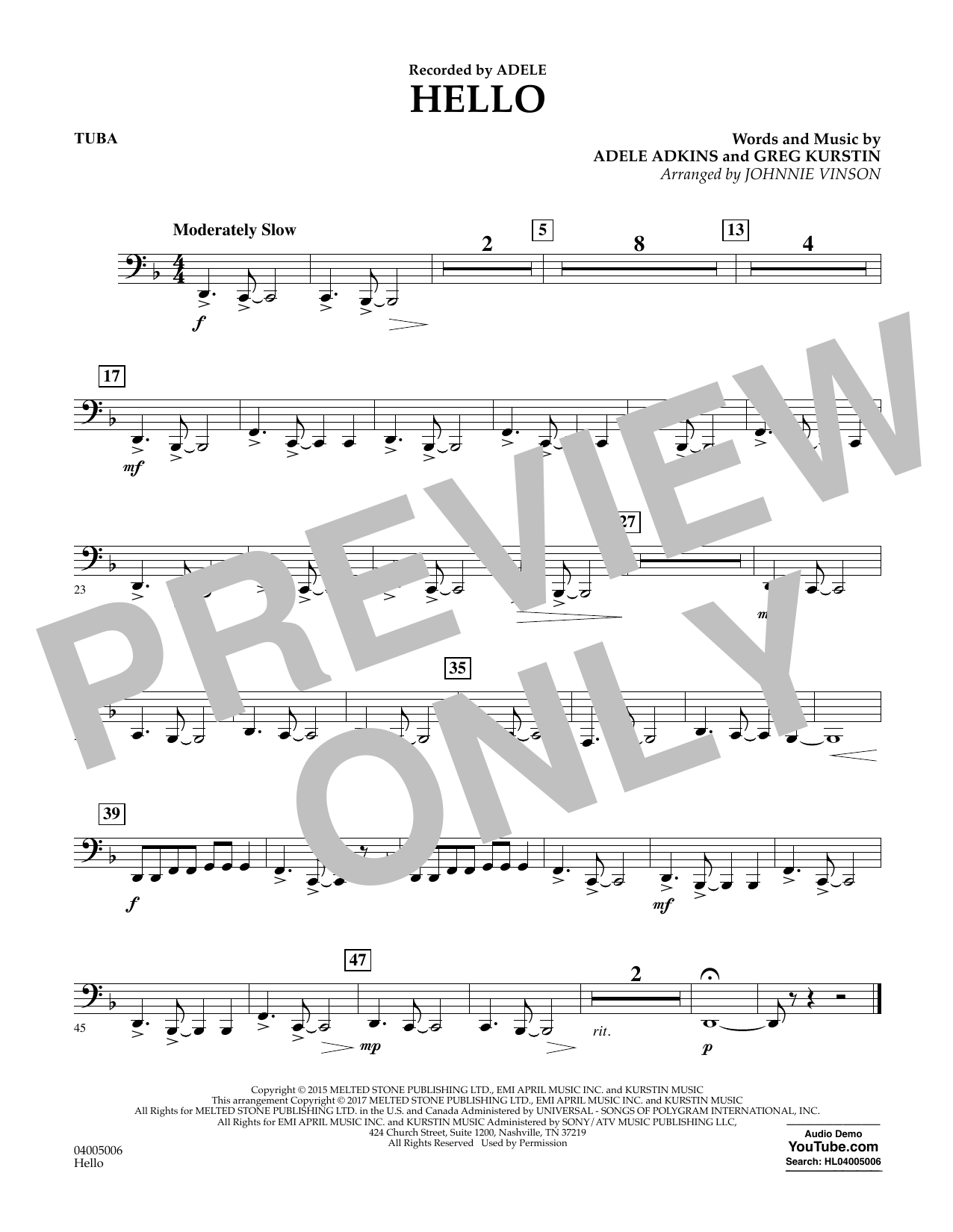 Hello - Tuba Sheet Music