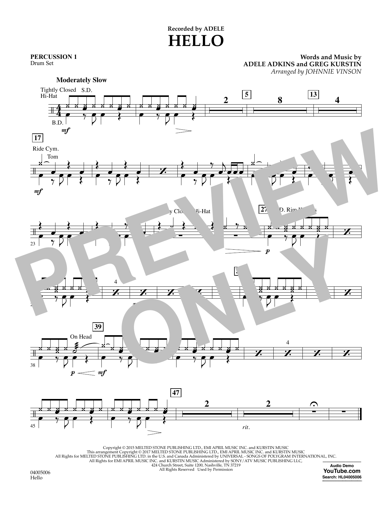 Hello - Percussion 1 Sheet Music