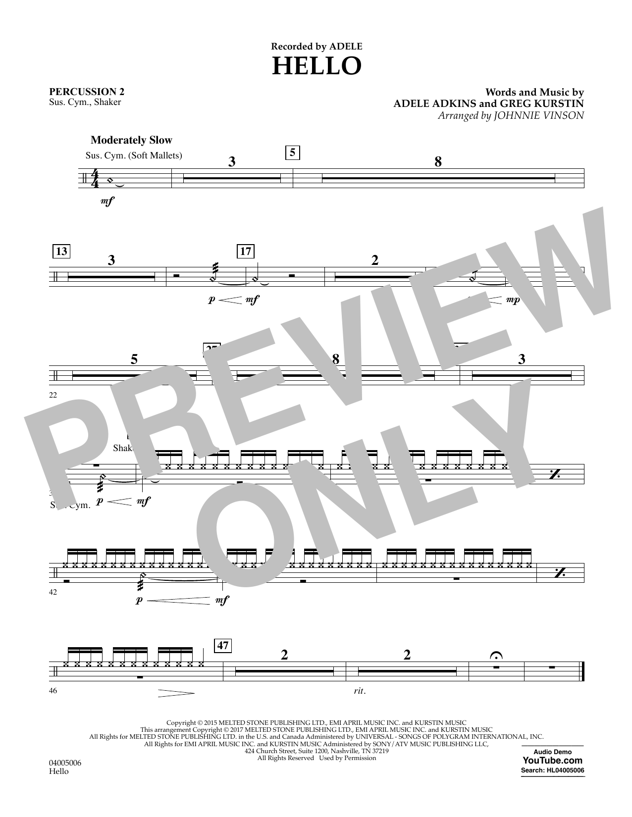 Hello - Percussion 2 Sheet Music