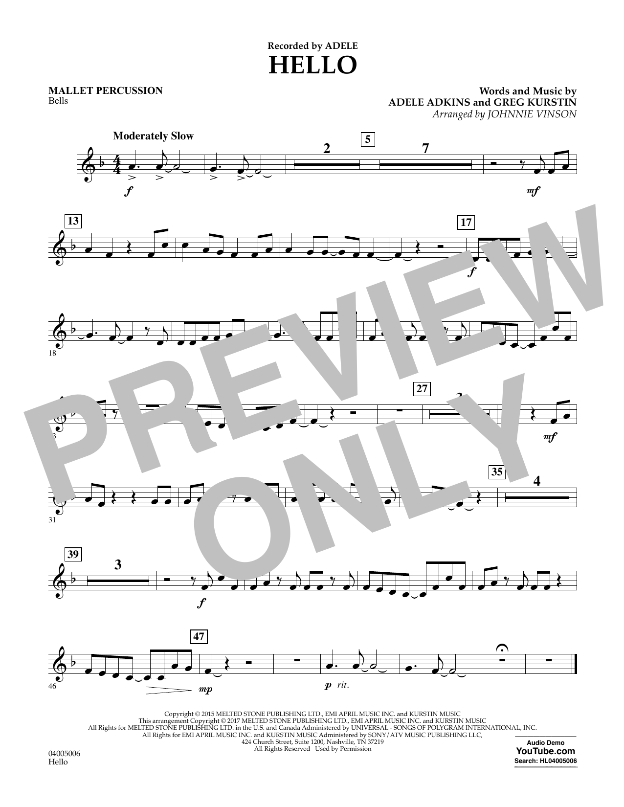 Hello - Mallet Percussion Sheet Music