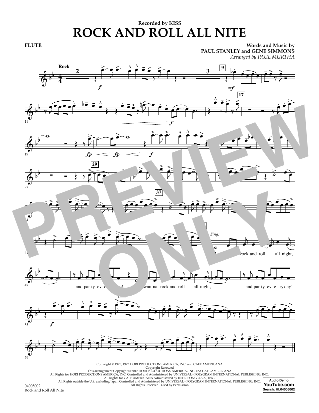 Rock and Roll All Nite - Flute Partition Digitale