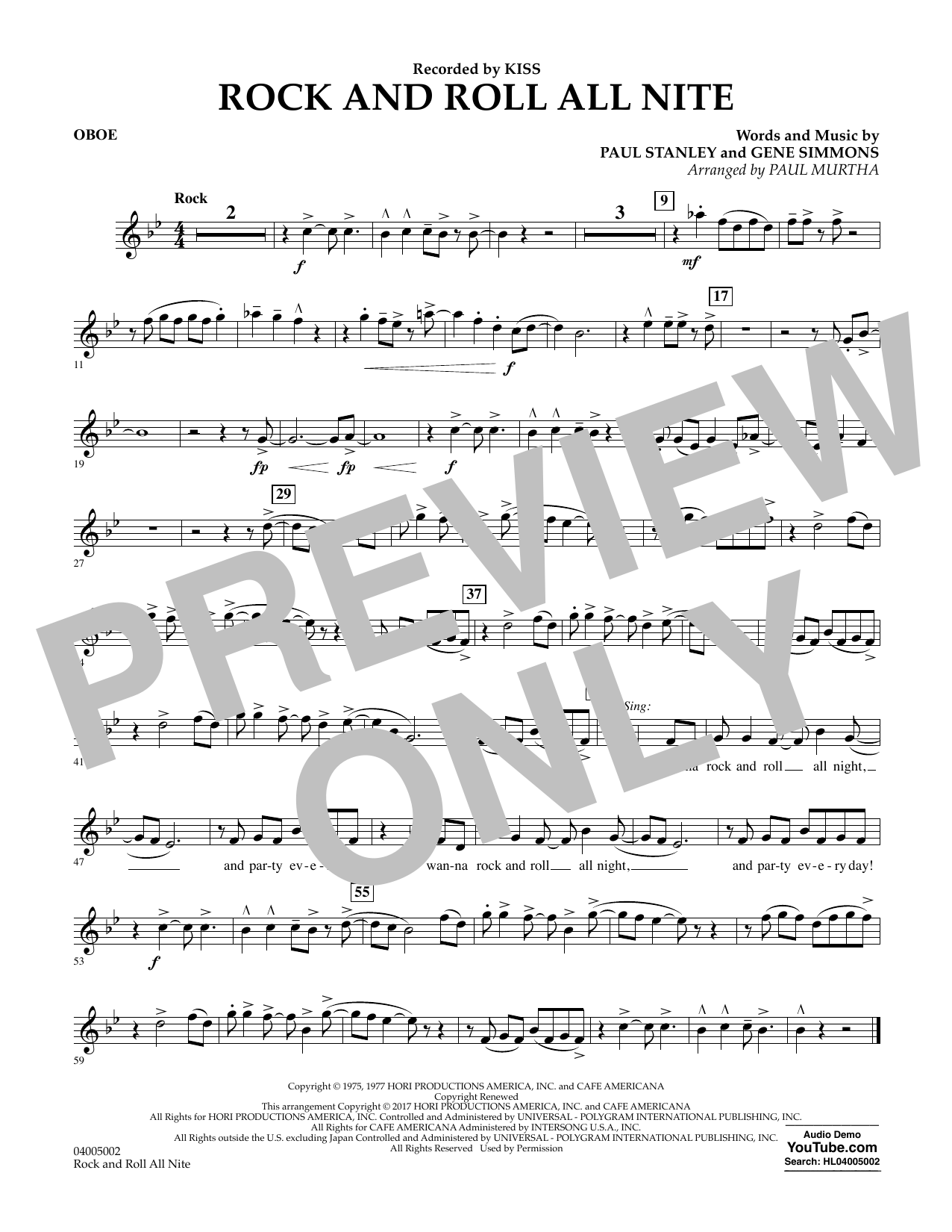 Rock and Roll All Nite - Oboe Sheet Music