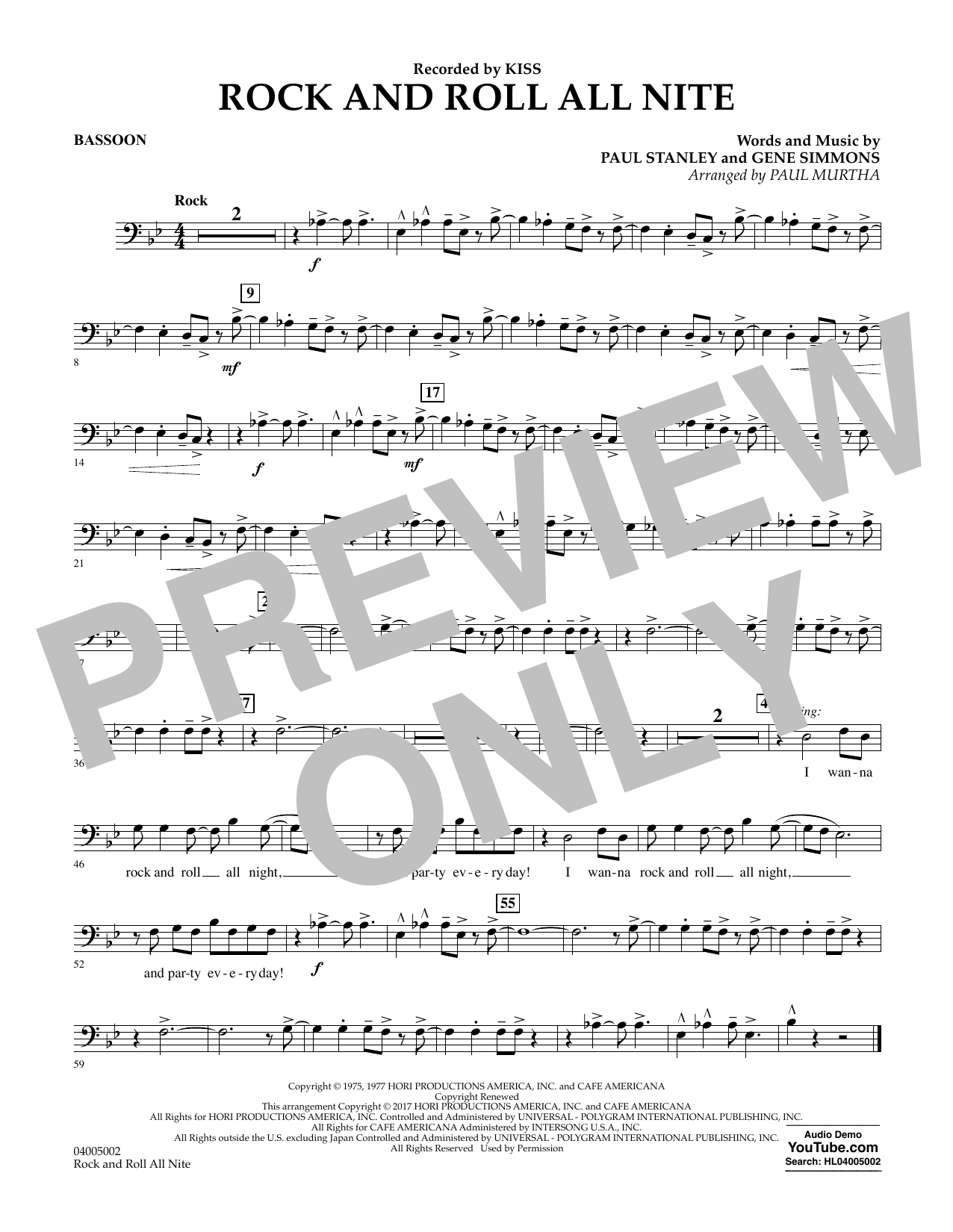 Rock and Roll All Nite - Bassoon Partition Digitale