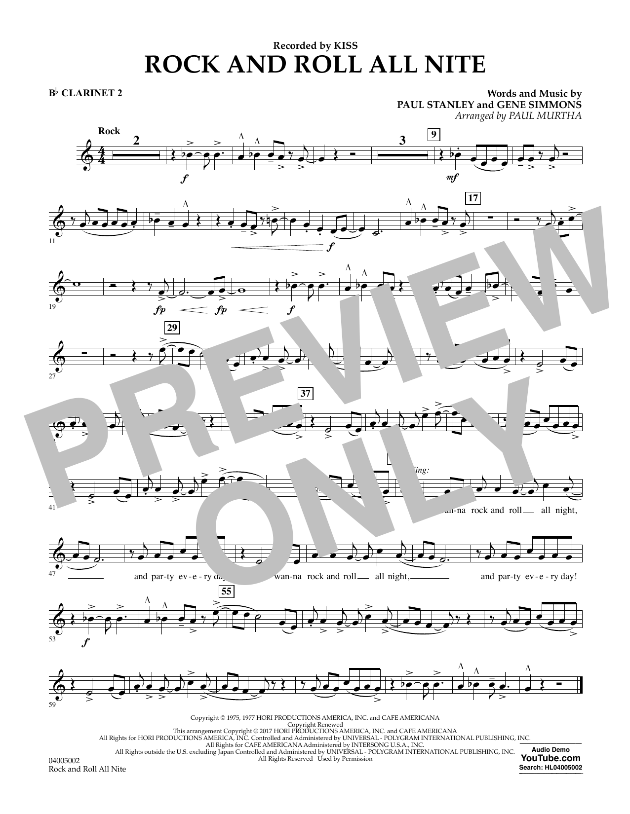 Rock and Roll All Nite - Bb Clarinet 2 Sheet Music