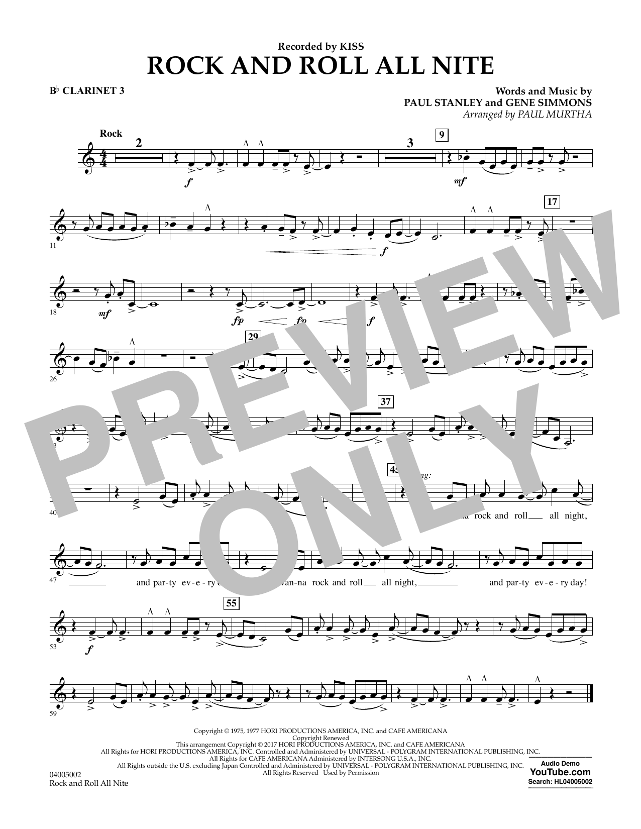 Rock and Roll All Nite - Bb Clarinet 3 Partition Digitale