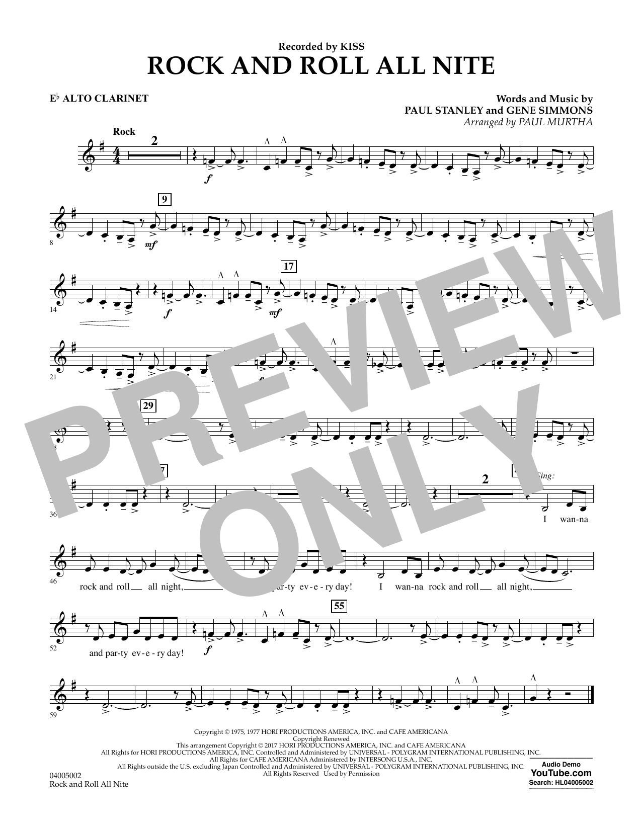 Rock and Roll All Nite - Eb Alto Clarinet Sheet Music