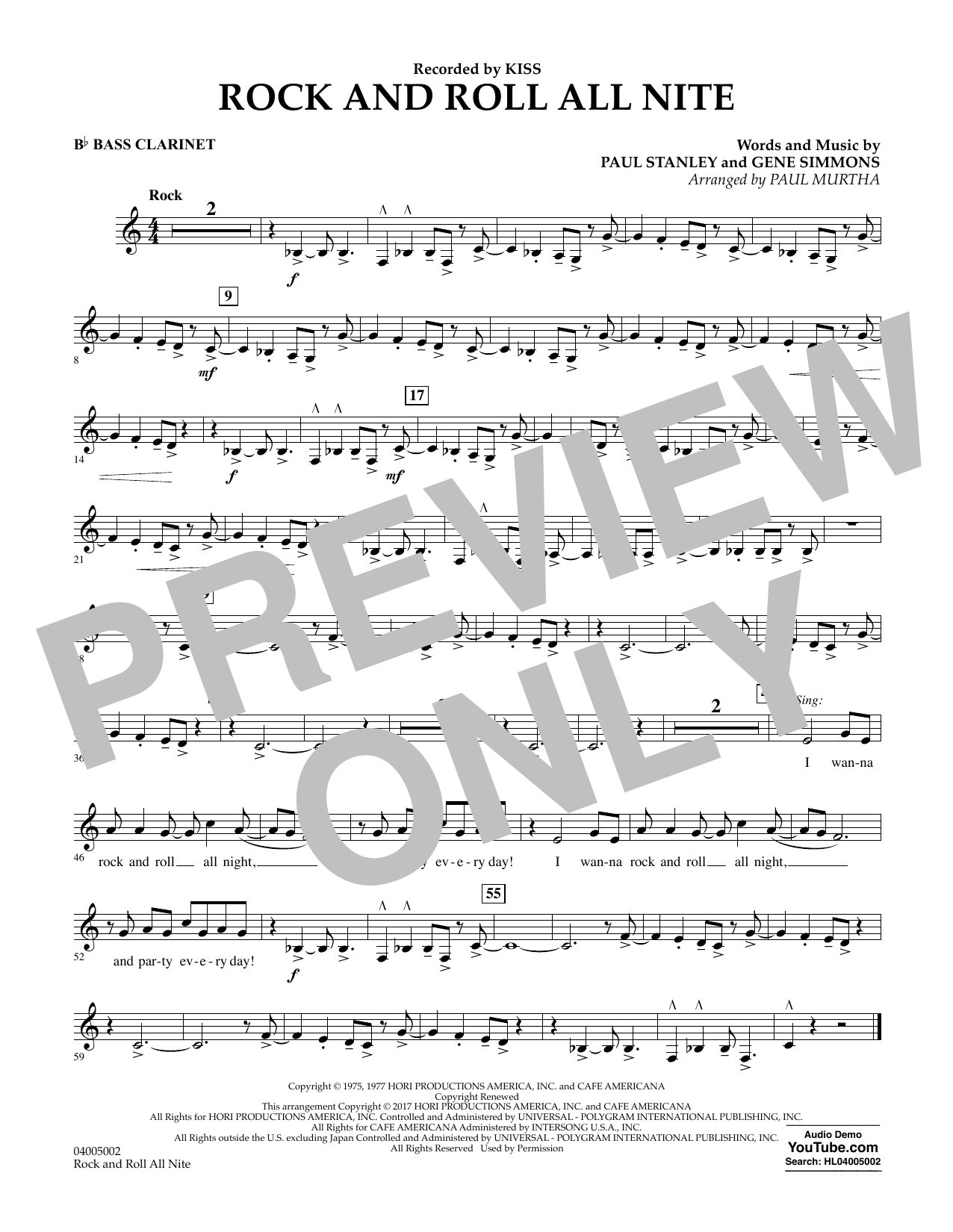 Rock and Roll All Nite - Bb Bass Clarinet (Concert Band)