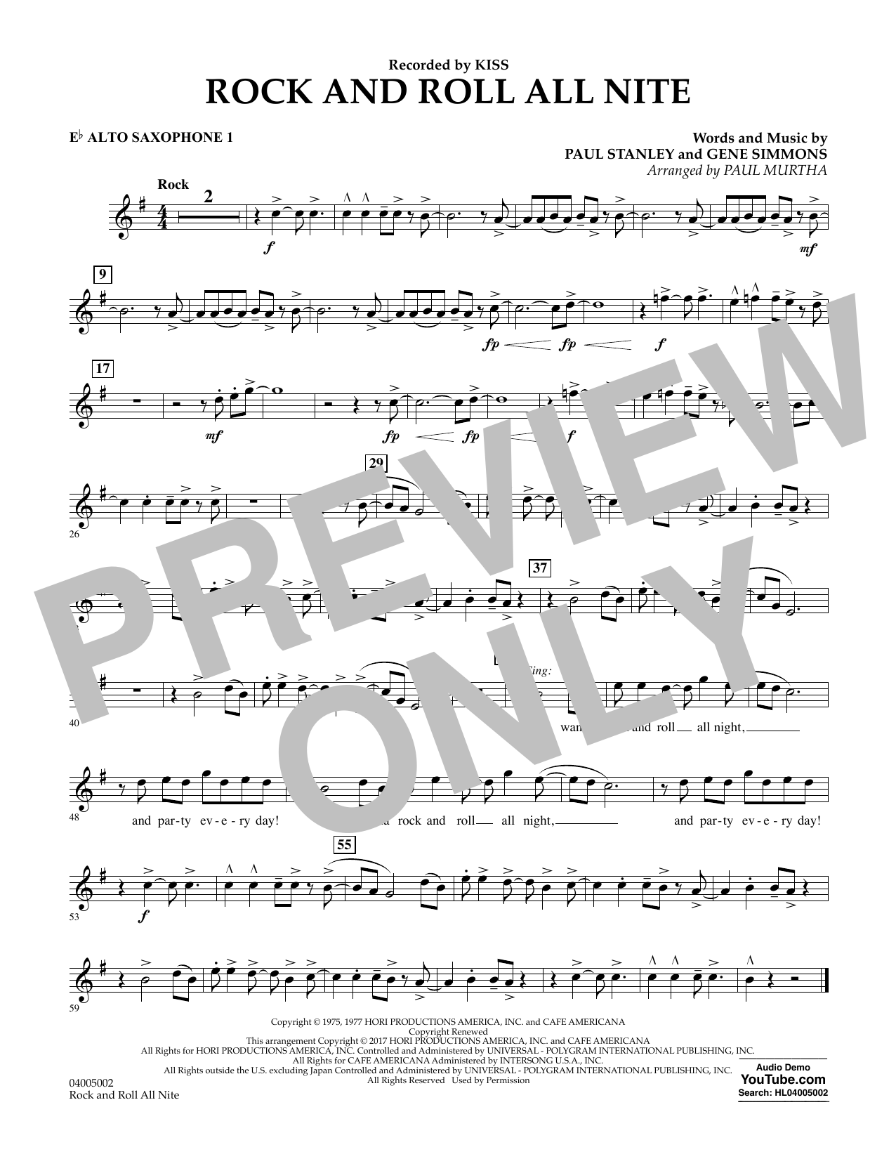 Rock and Roll All Nite - Eb Alto Saxophone 1 Sheet Music