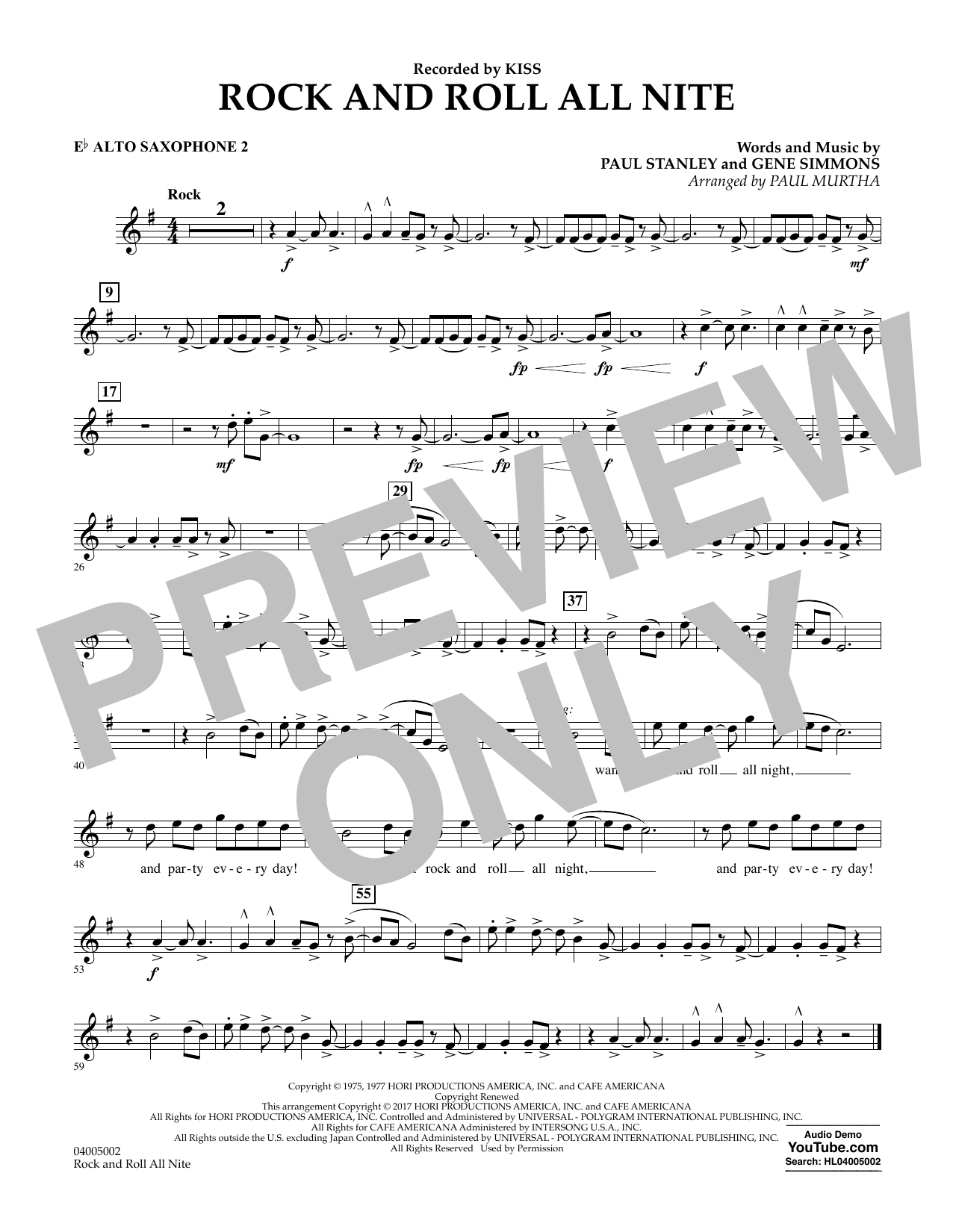 Rock and Roll All Nite - Eb Alto Saxophone 2 Sheet Music