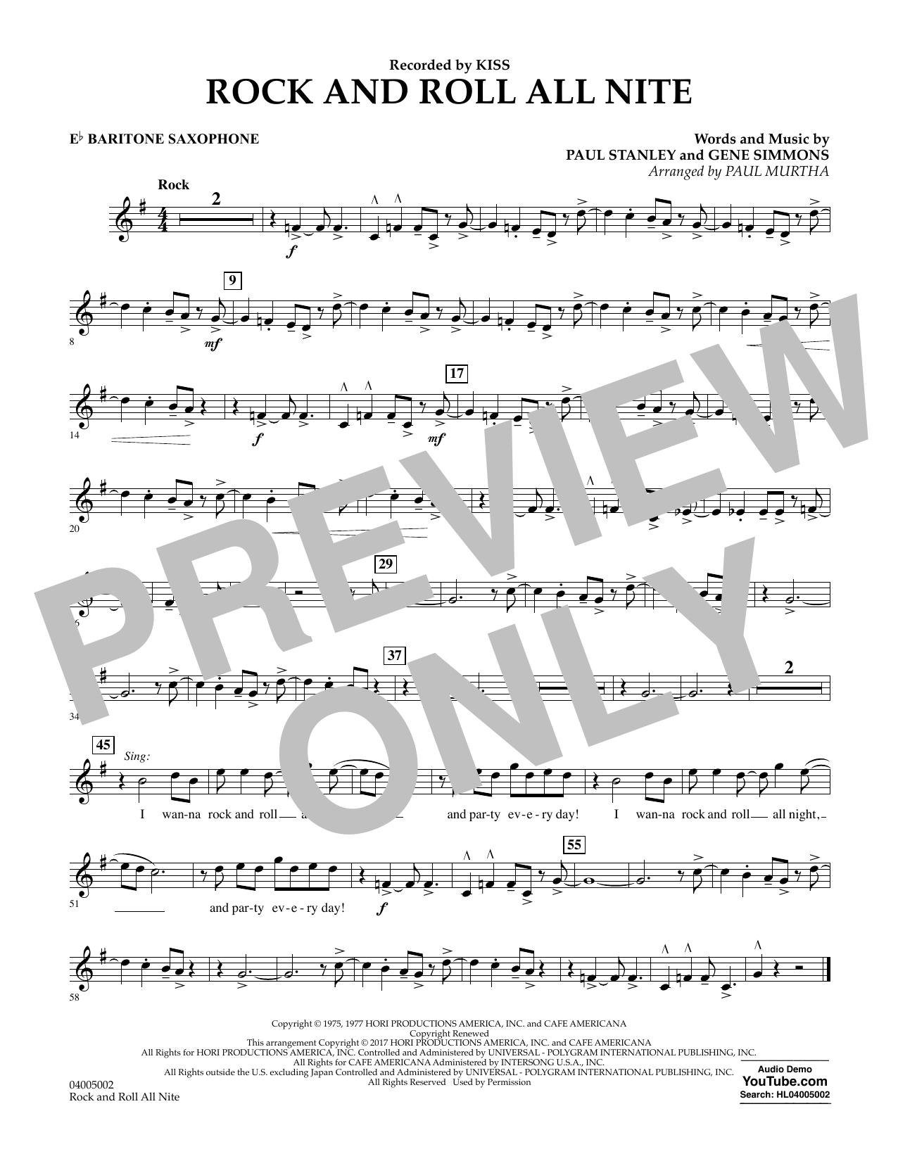 Rock and Roll All Nite - Eb Baritone Saxophone (Concert Band)